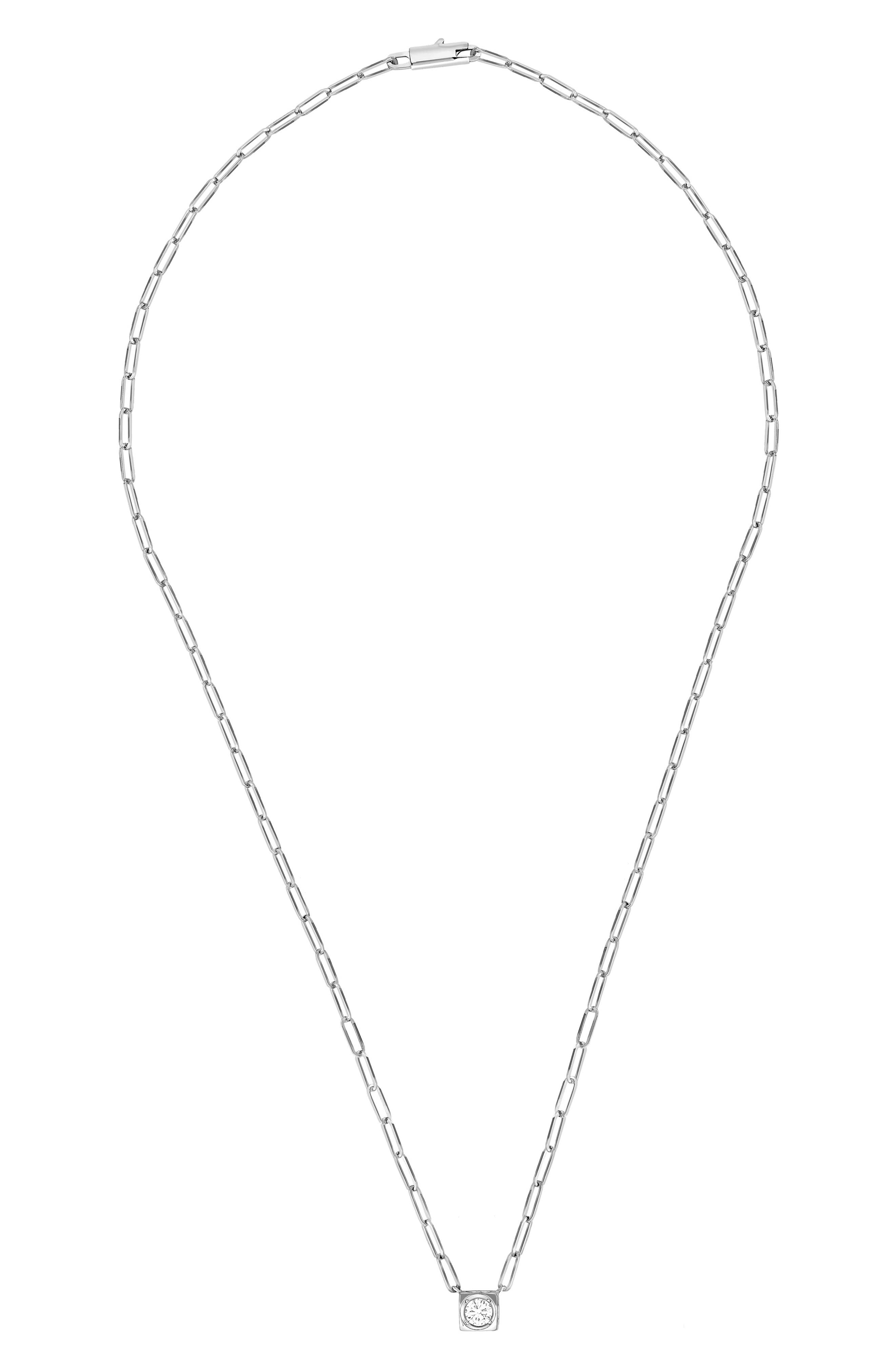 DINH VAN Le Cube Diamant Large 18K Gold Necklace in White Gold