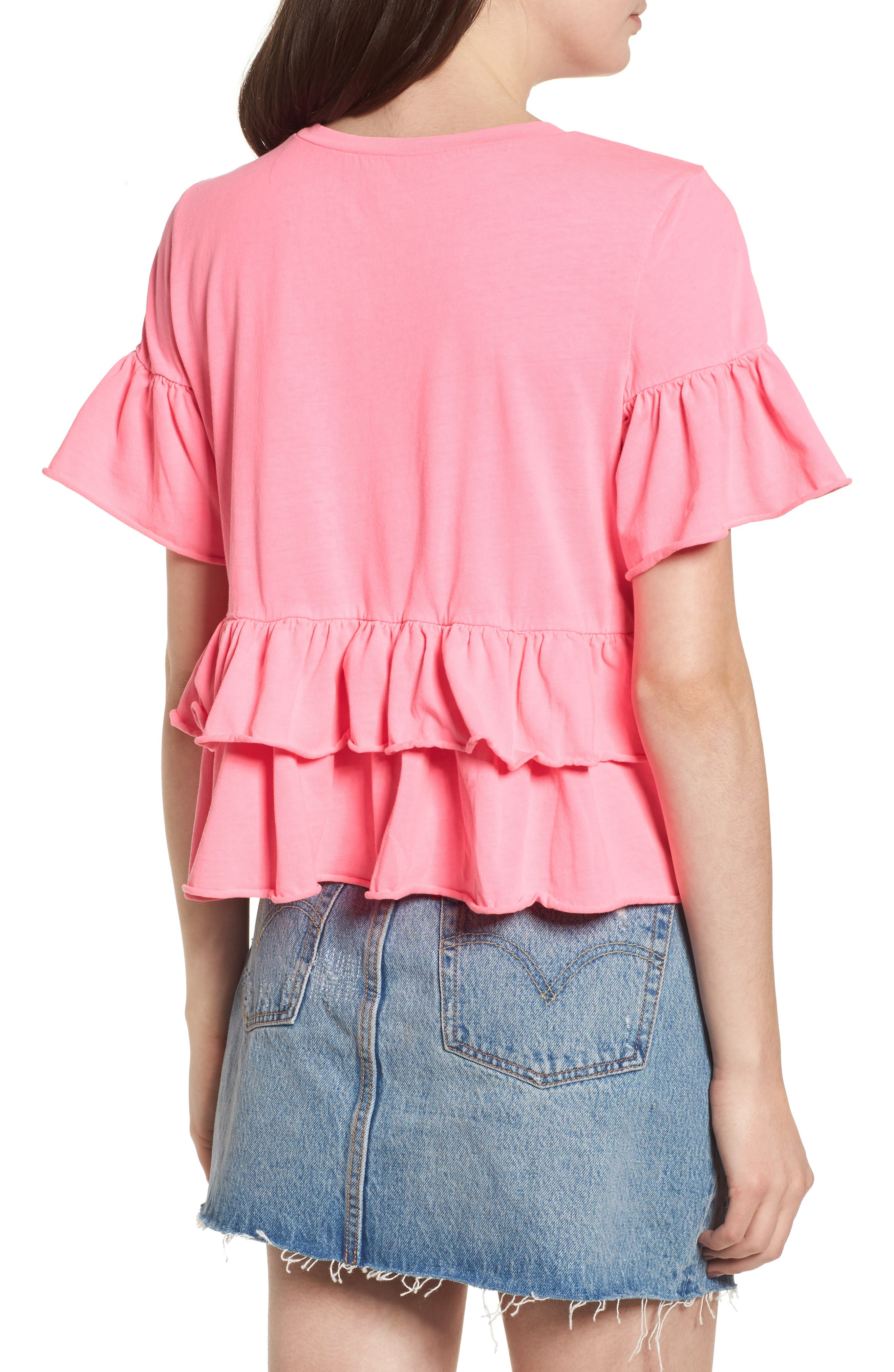 Double Peplum Ruffle Tee,                             Alternate thumbnail 2, color,                             680