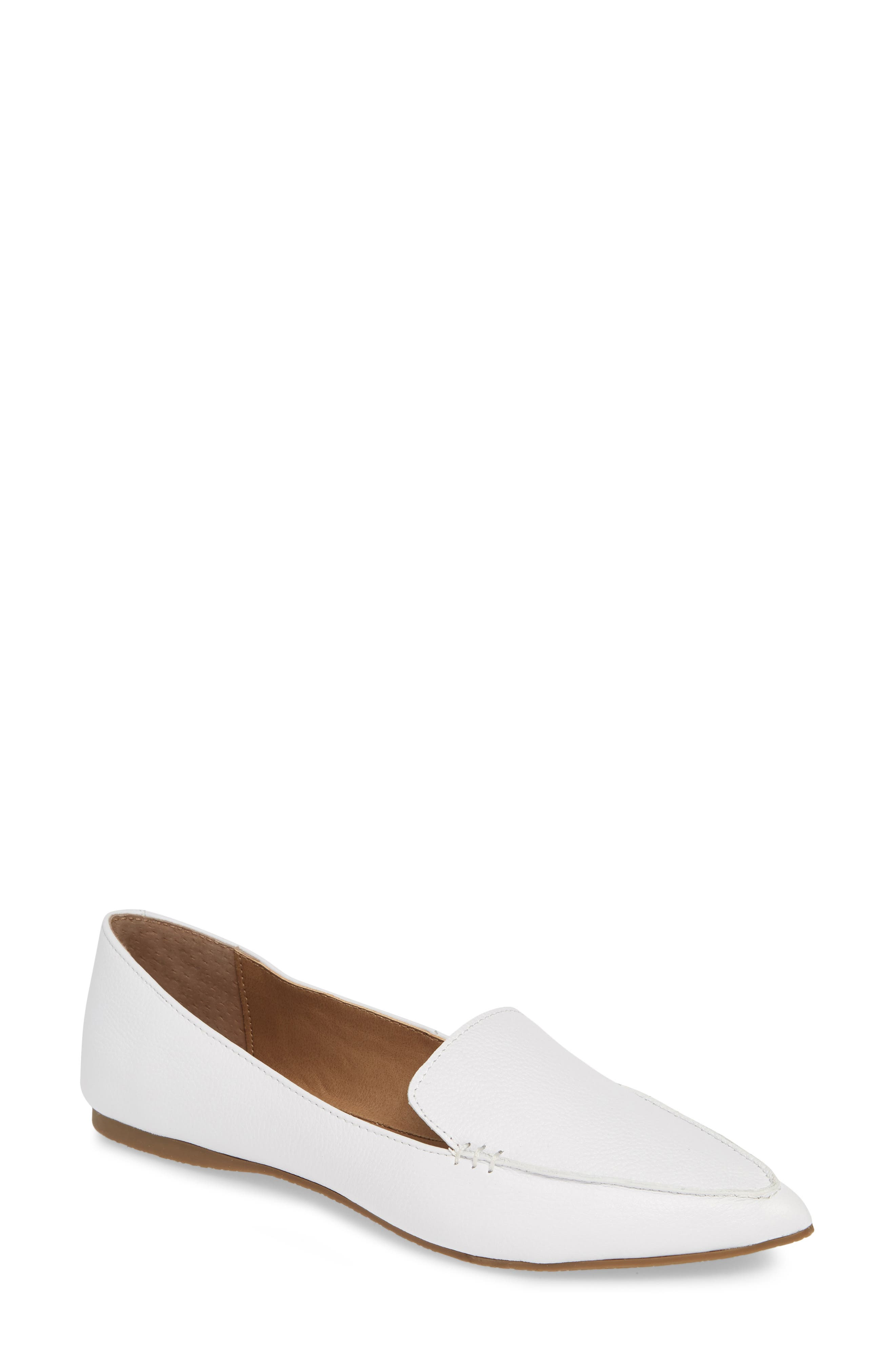STEVE MADDEN,                             Feather Loafer Flat,                             Main thumbnail 1, color,                             WHITE LEATHER
