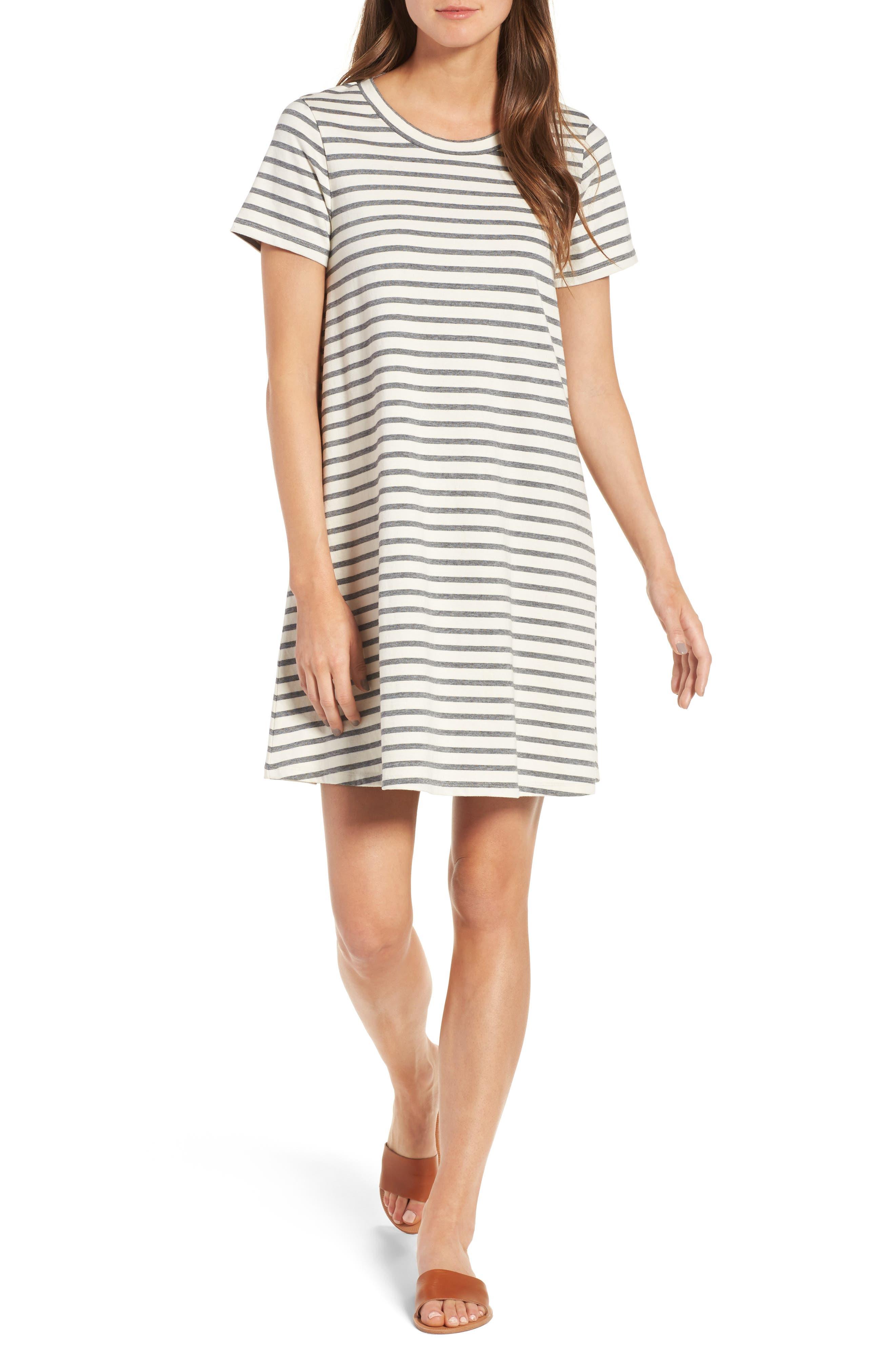 Retreat Stripe Cotton Shift Dress,                             Main thumbnail 1, color,                             100