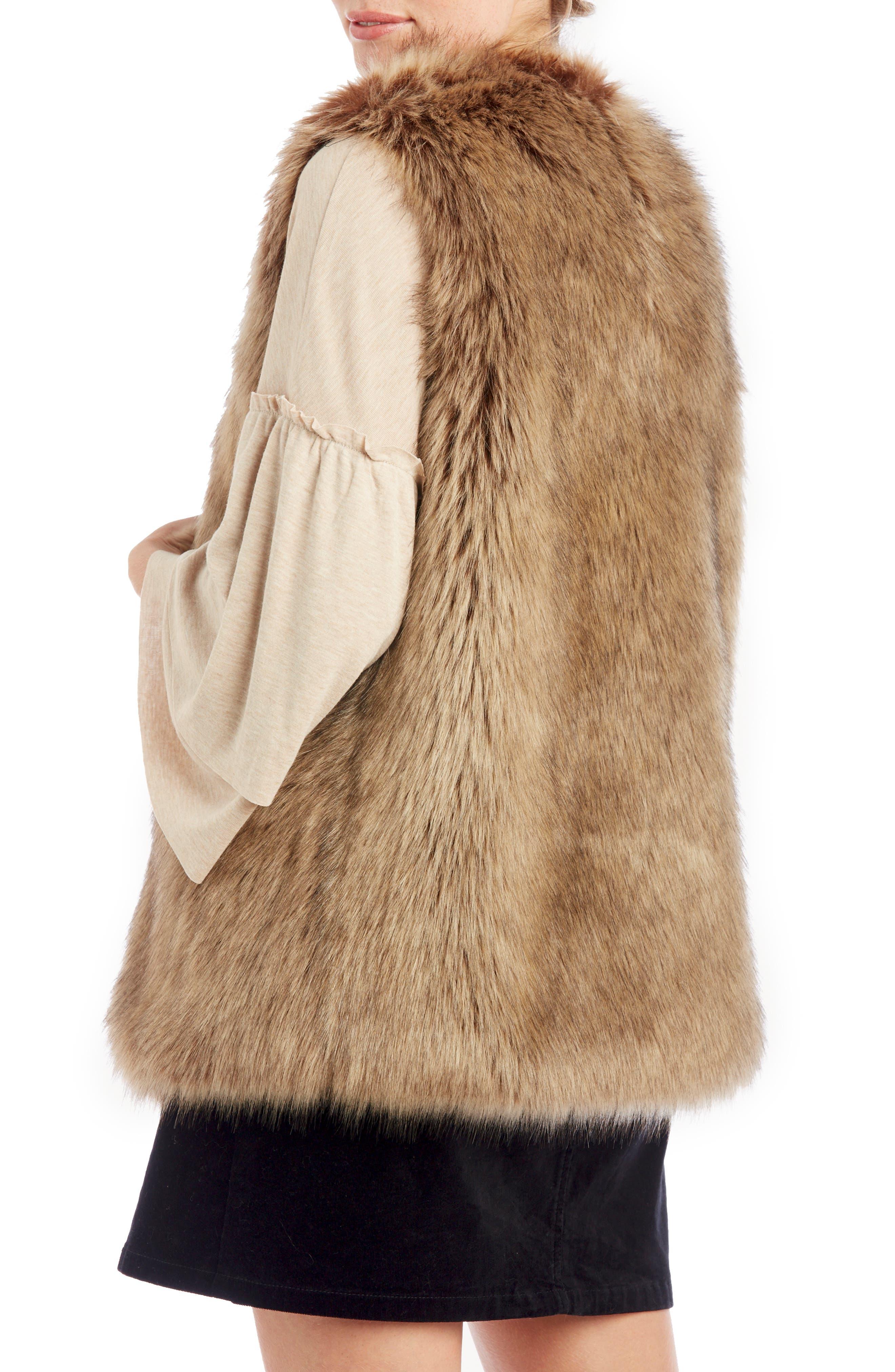 Faux Fur Vest,                             Alternate thumbnail 2, color,                             LIGHT BROWN