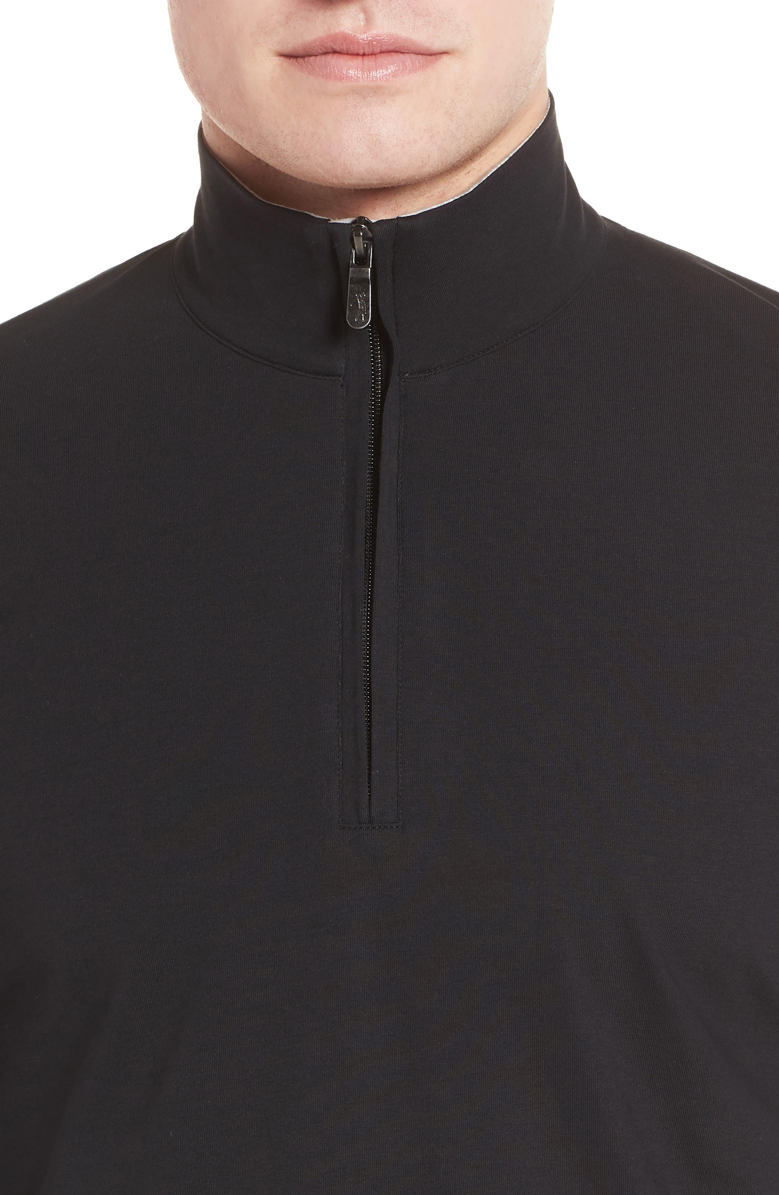 PTO Liquid Stretch Quarter Zip Pullover,                             Alternate thumbnail 4, color,                             BLACK
