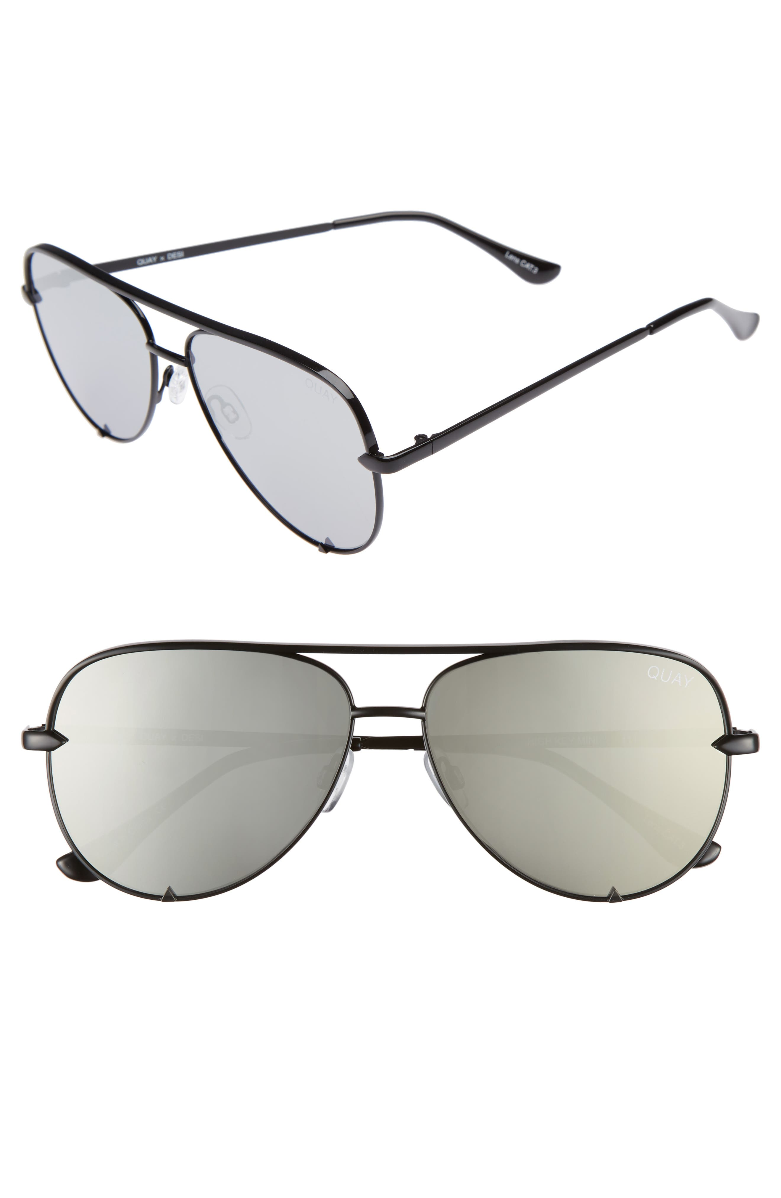 X Desi Perkins High Key Mini 57Mm Aviator Sunglasses - Black/ Silver