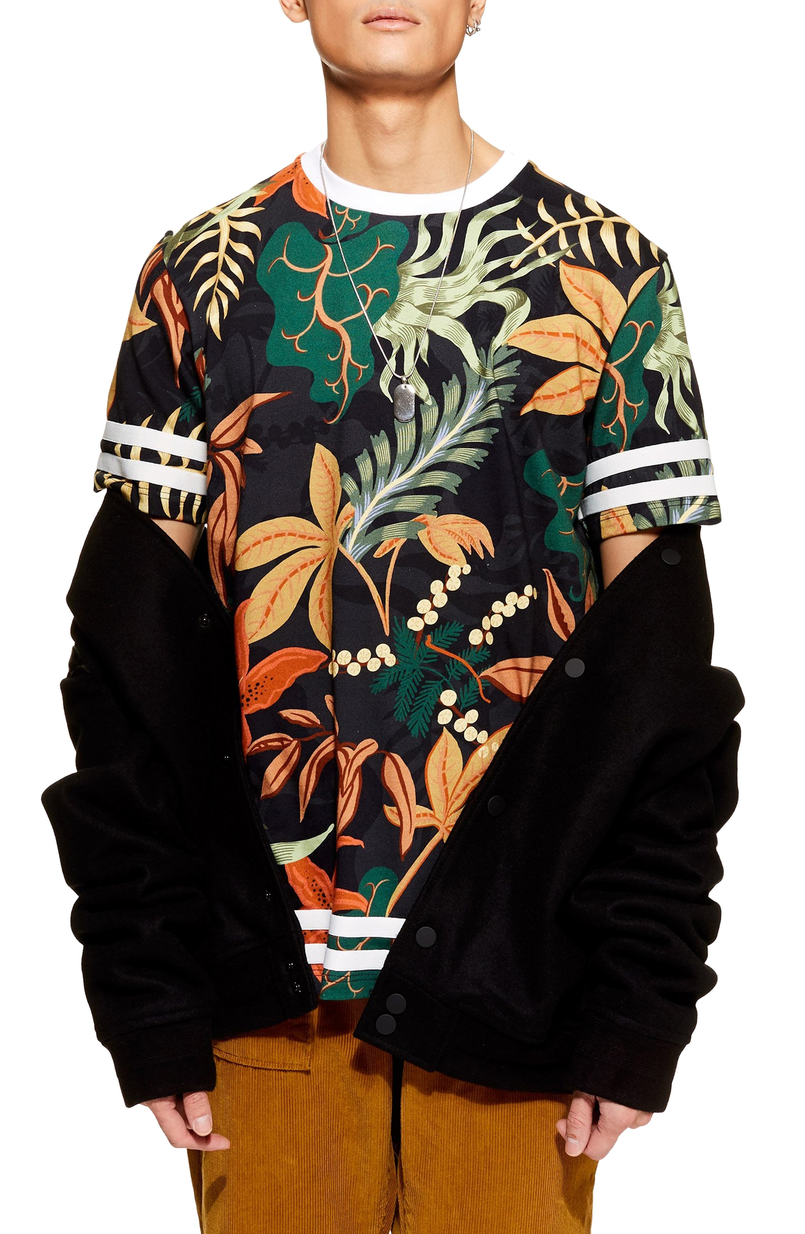 Tape Floral Print T-Shirt, Main, color, BLACK MULTI