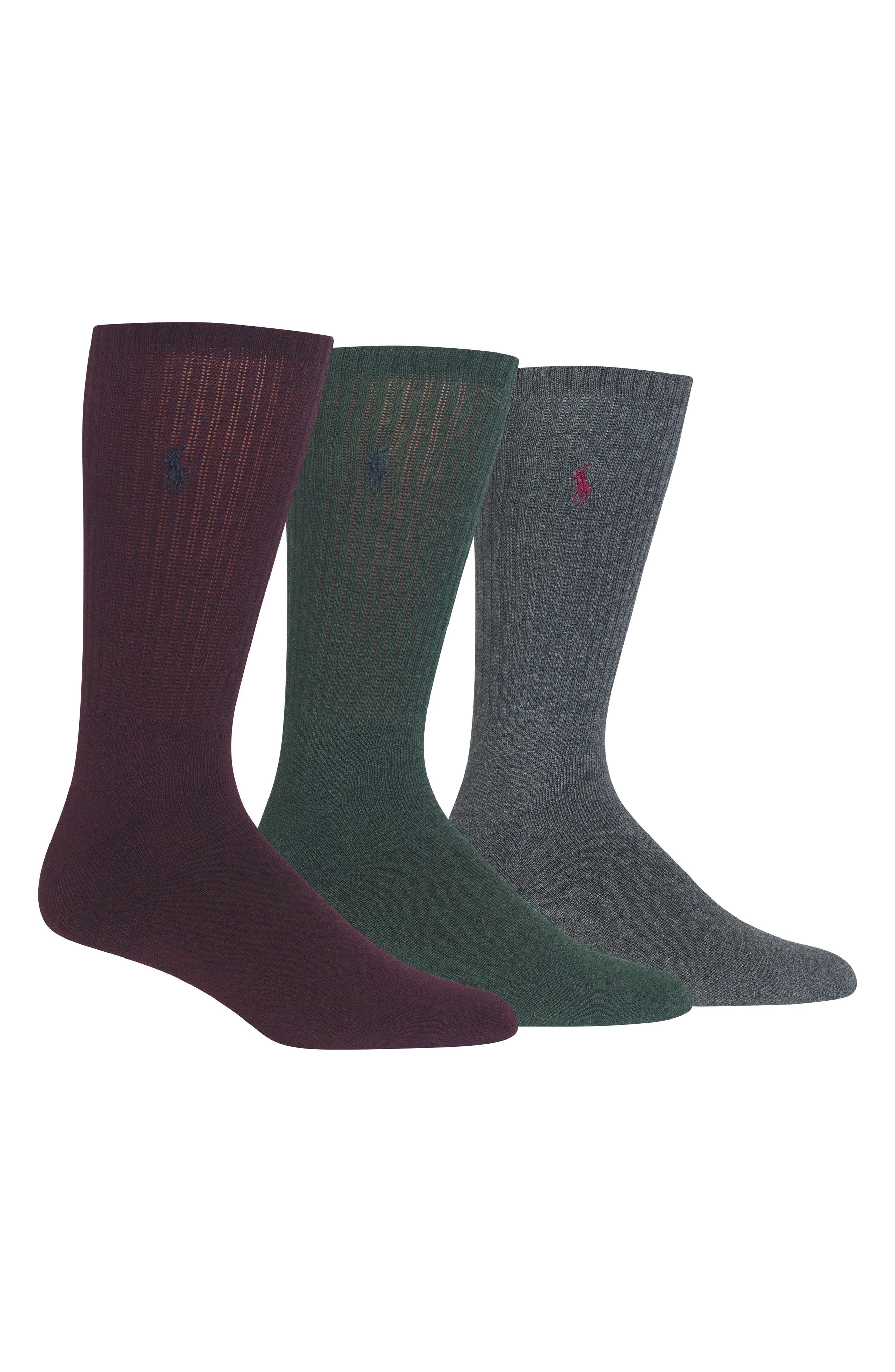 3-Pack Crew Socks,                             Main thumbnail 1, color,                             WINE