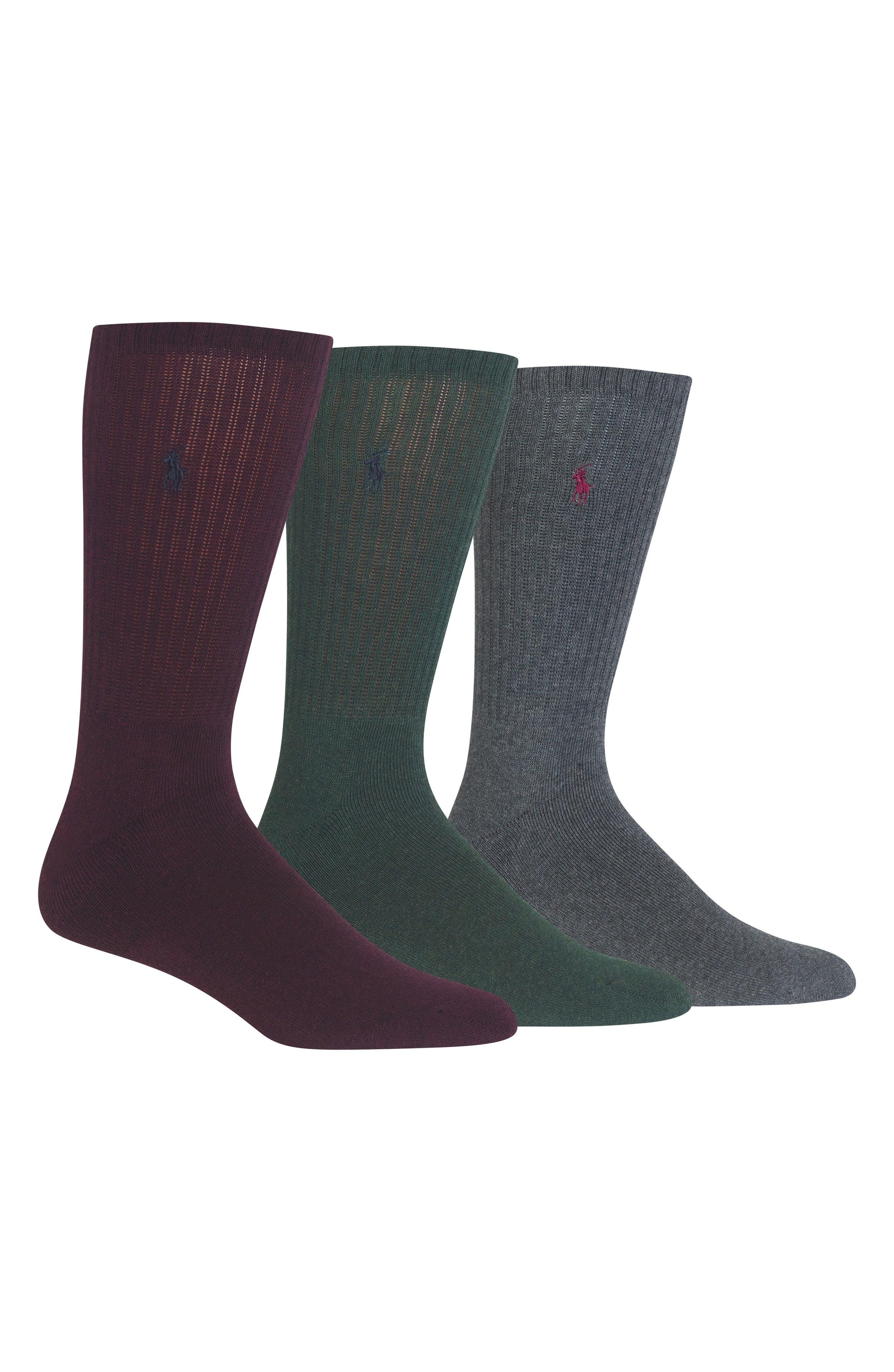 3-Pack Crew Socks,                         Main,                         color, WINE