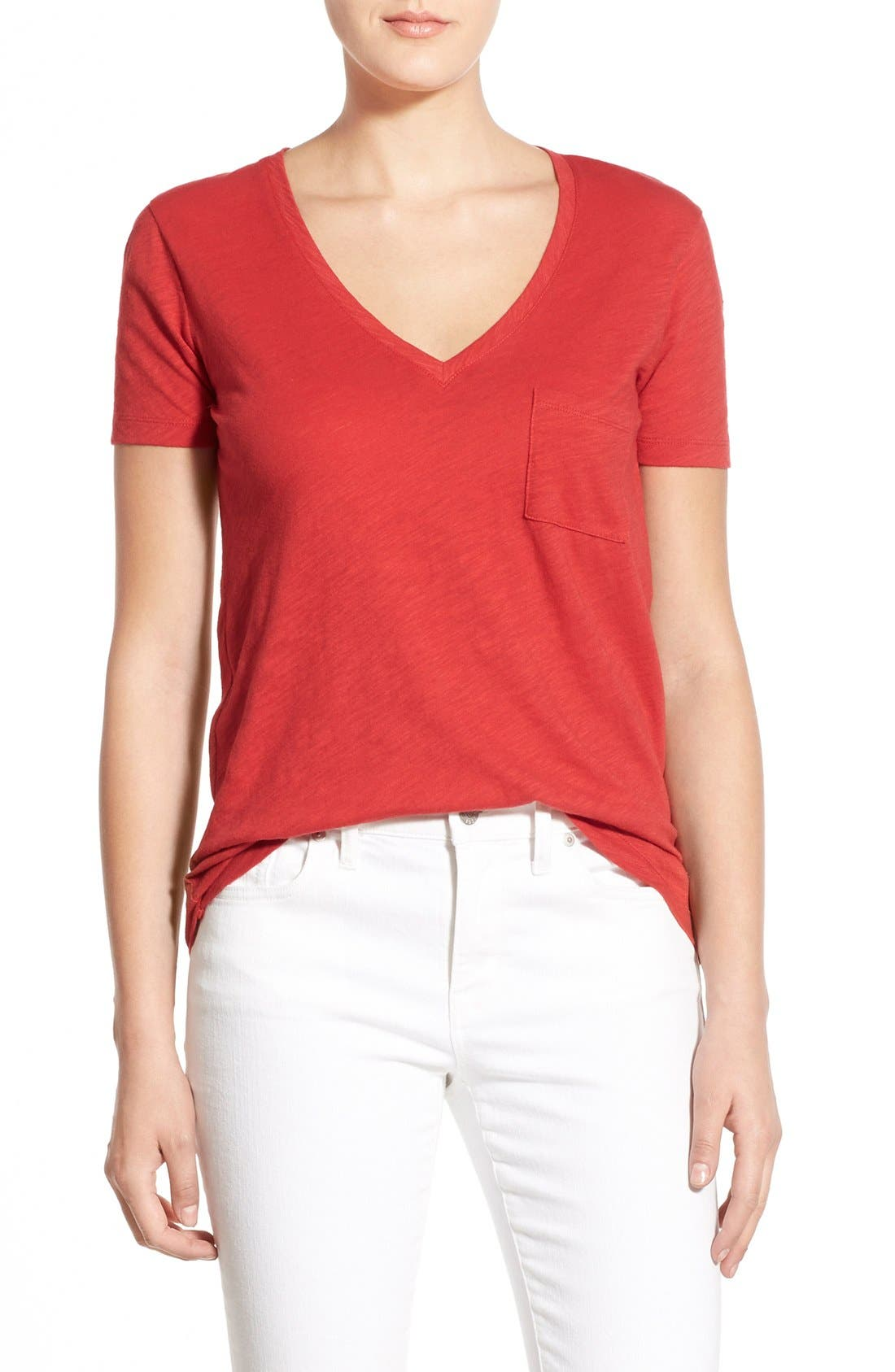 Whisper Cotton V-Neck Pocket Tee,                             Main thumbnail 31, color,
