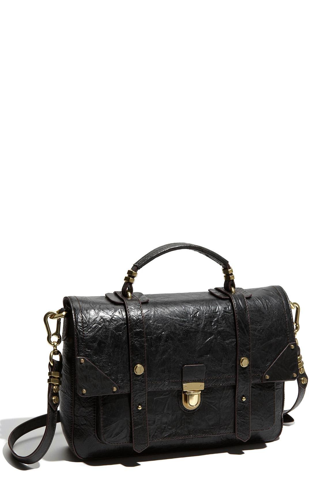Leather Flap Satchel,                         Main,                         color, 001