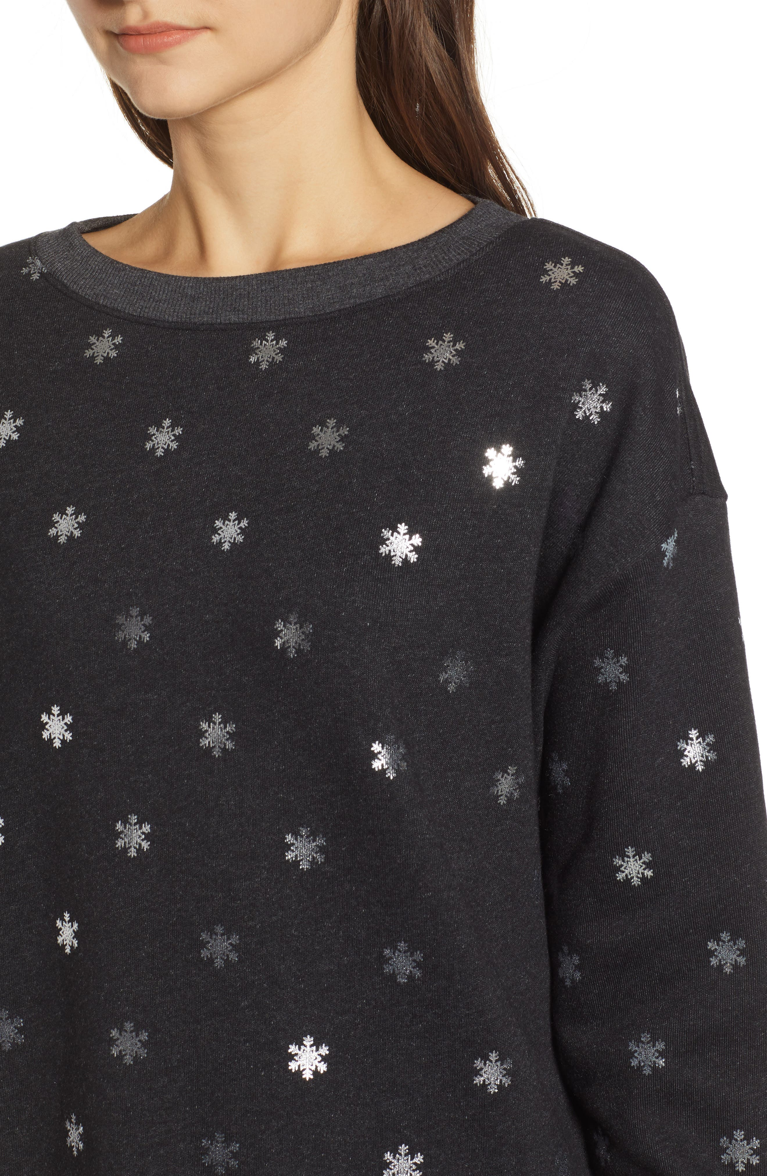 WILDFOX,                             Shimmery Snowflakes Road Trip Pullover,                             Alternate thumbnail 4, color,                             002