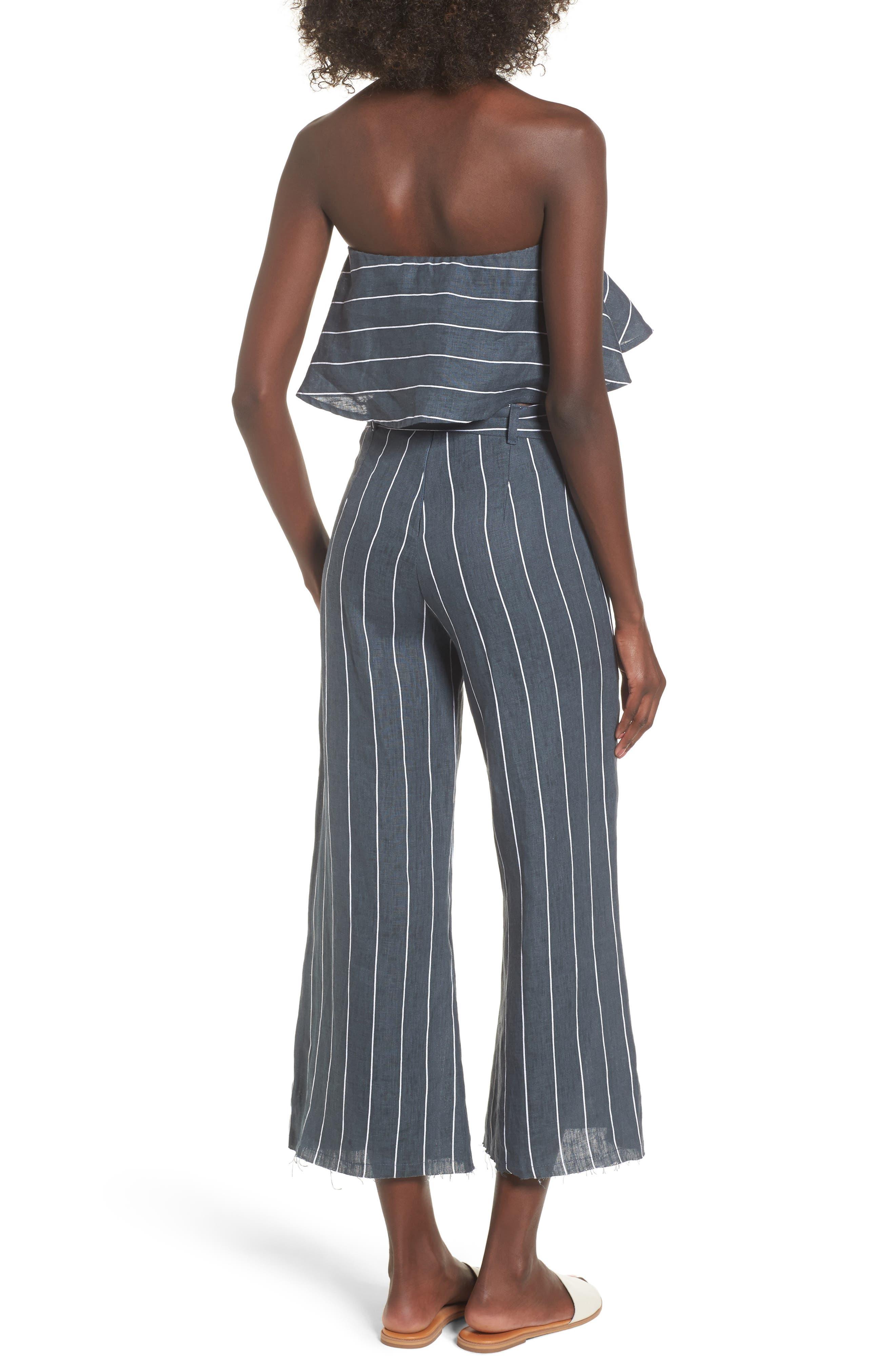 Como Pinstripe Wide Leg Crop Linen Pants,                             Alternate thumbnail 8, color,                             CHARCOAL
