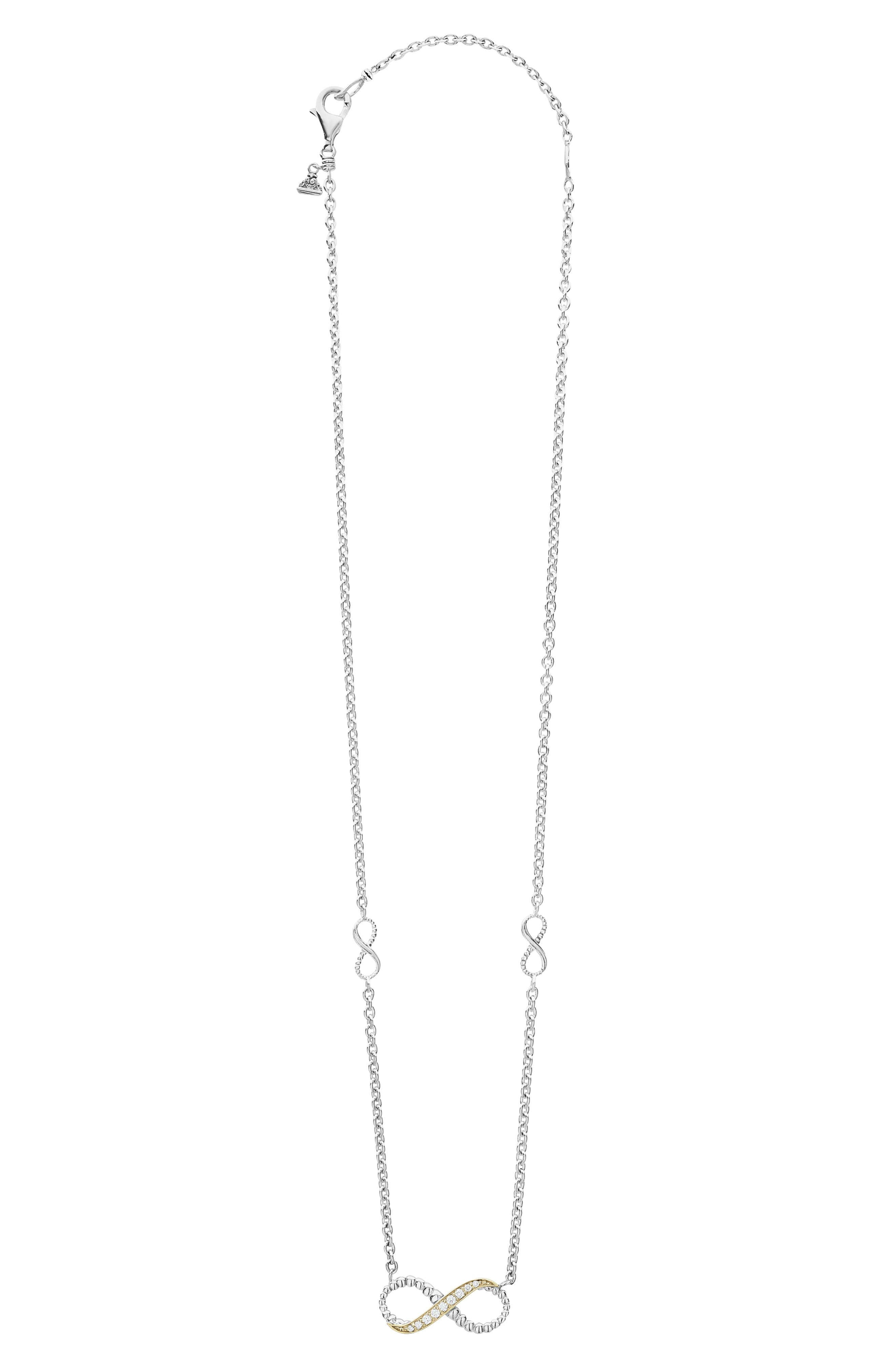 'Beloved' Diamond Infinity Pendant Necklace,                             Alternate thumbnail 2, color,                             STERLING SILVER