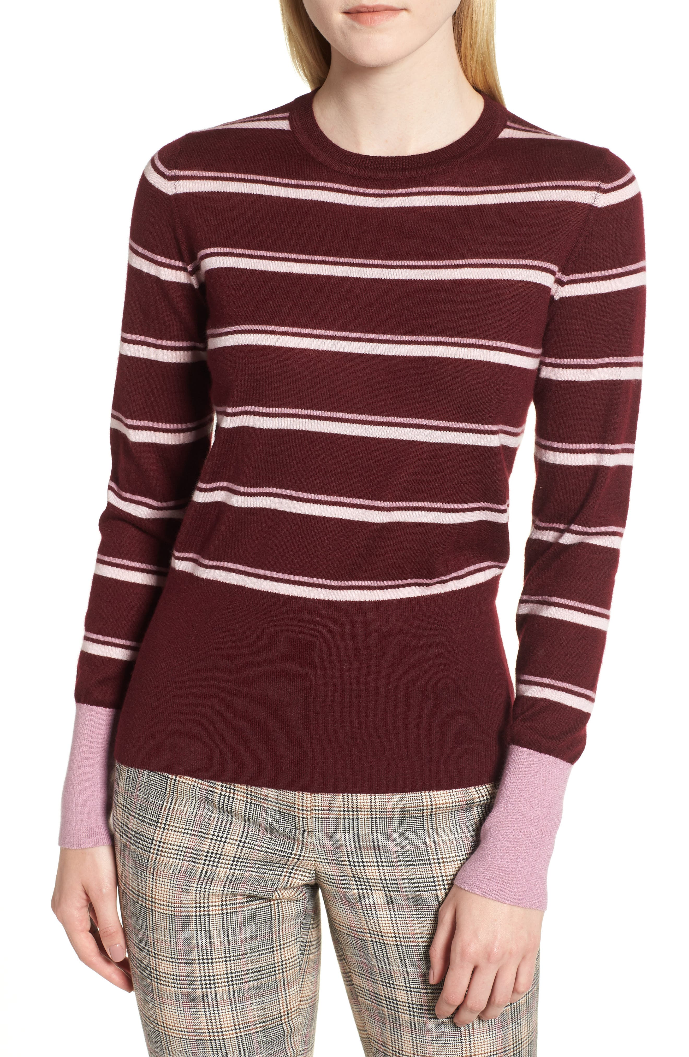 Stripe Cashmere Sweater,                             Main thumbnail 1, color,                             BURGUNDY STEP STRIPE