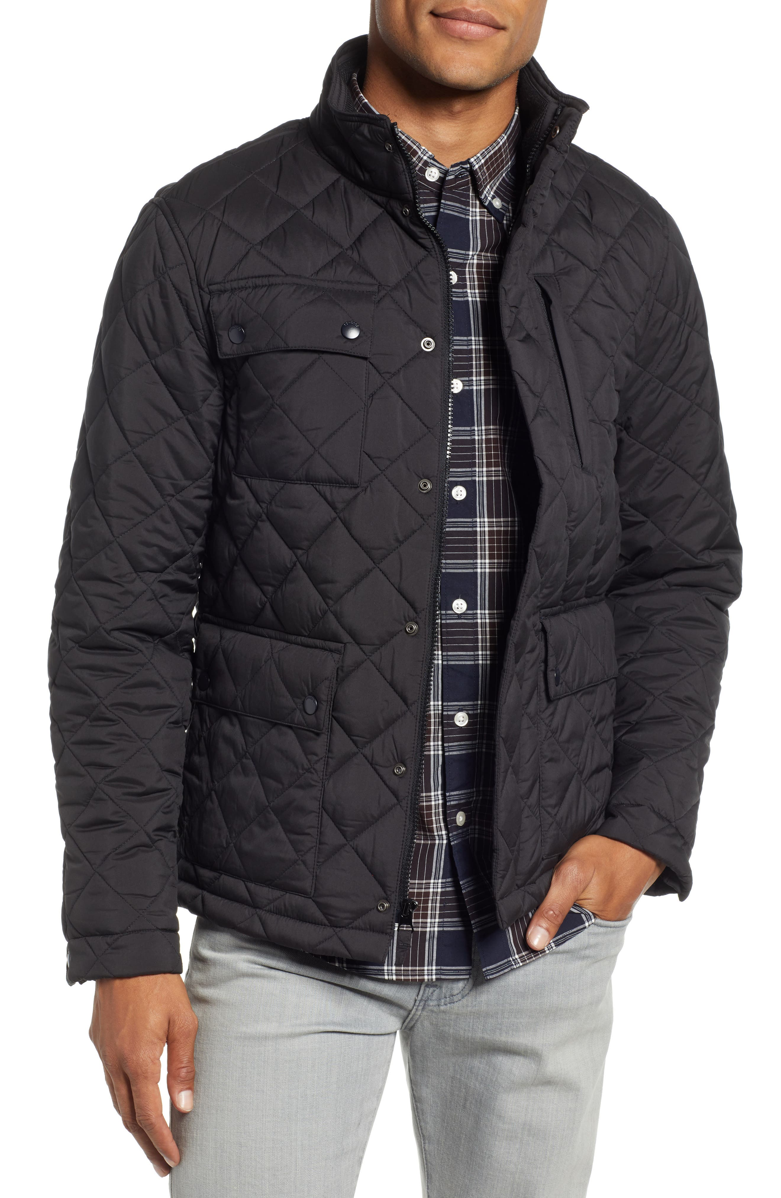 Banff Quilted Jacket,                         Main,                         color, BLACK
