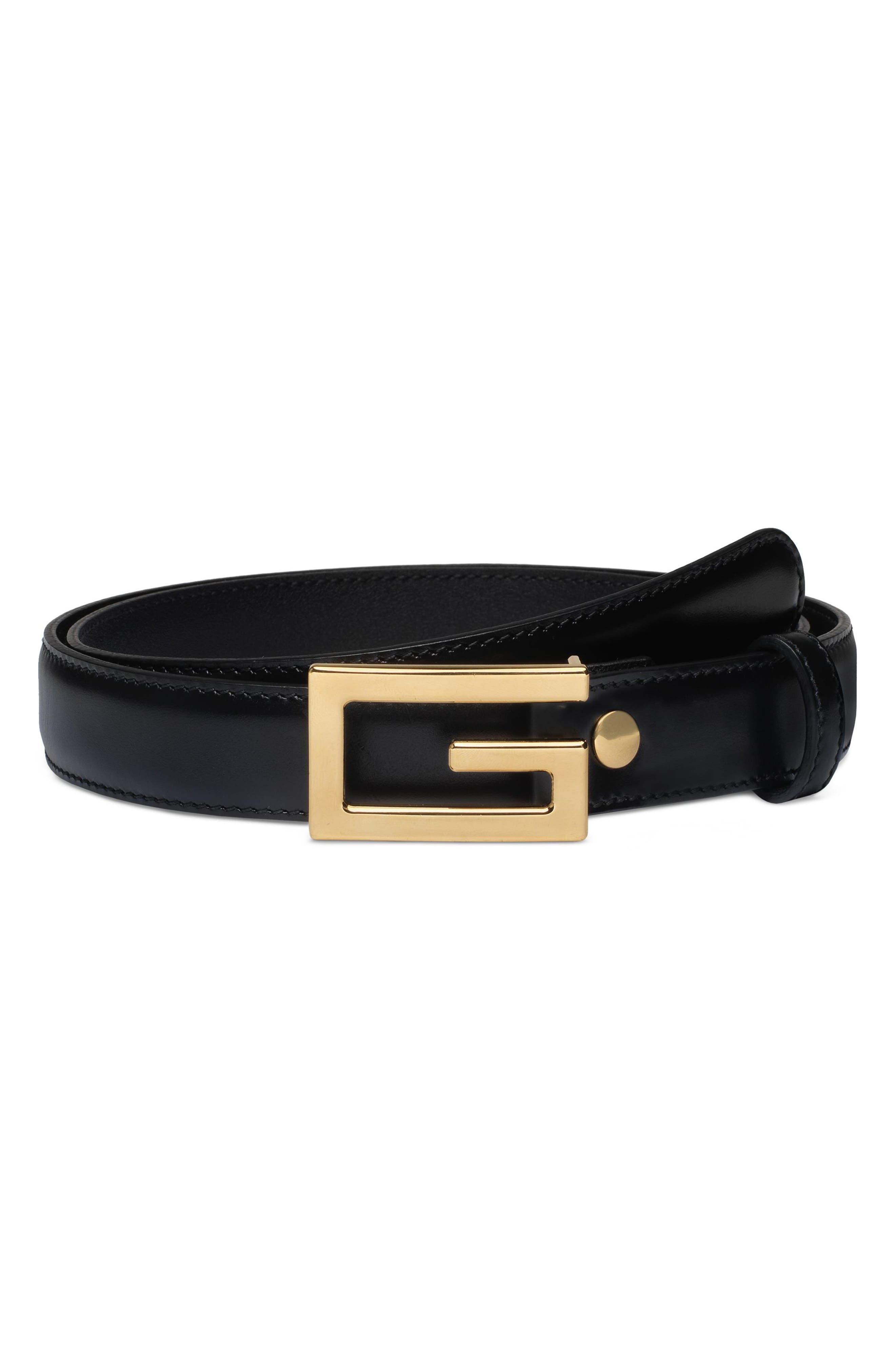 Lisse Calfskin Leather Belt,                             Main thumbnail 1, color,                             001