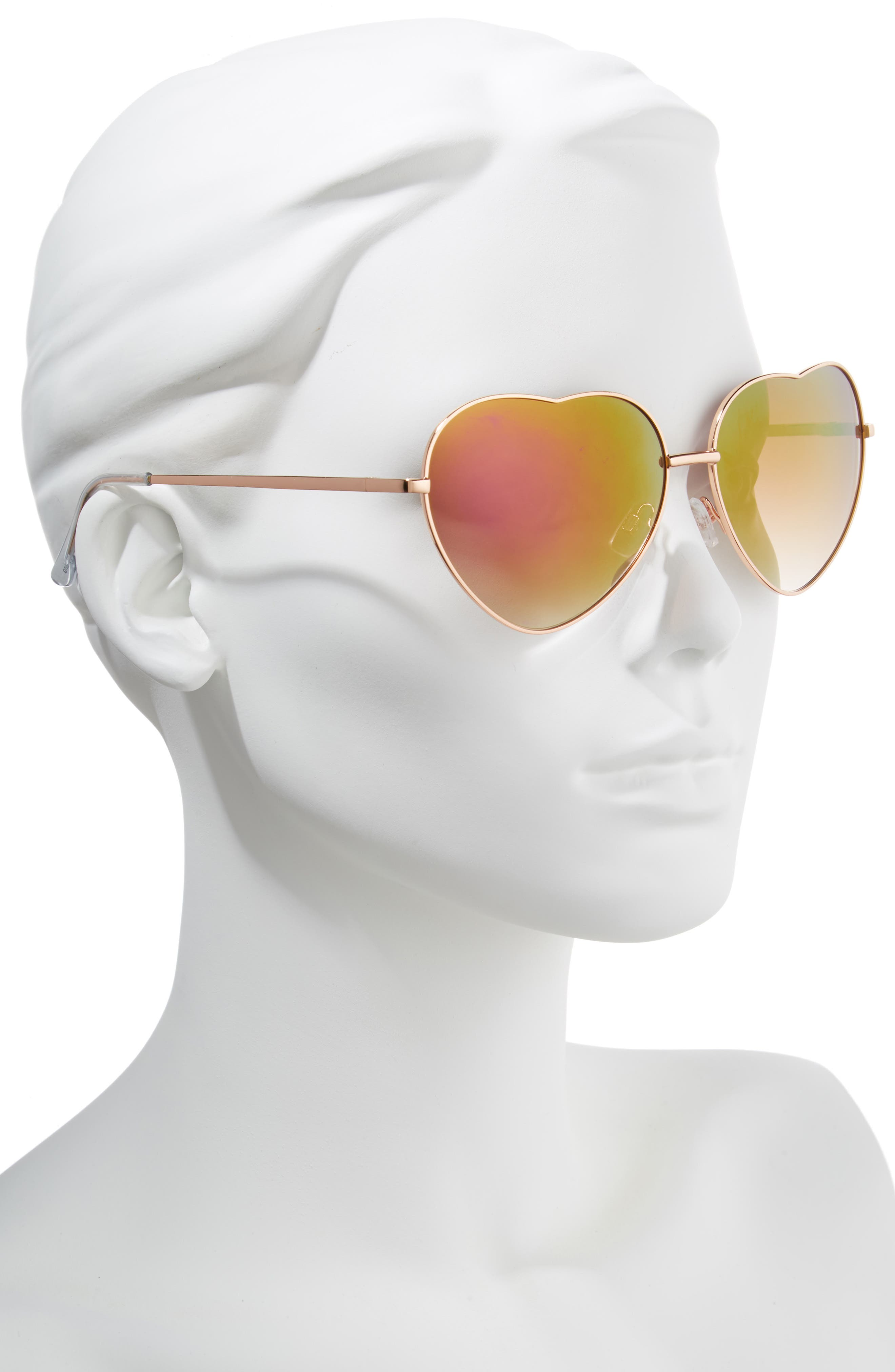60mm Metal Heart Sunglasses,                             Alternate thumbnail 6, color,