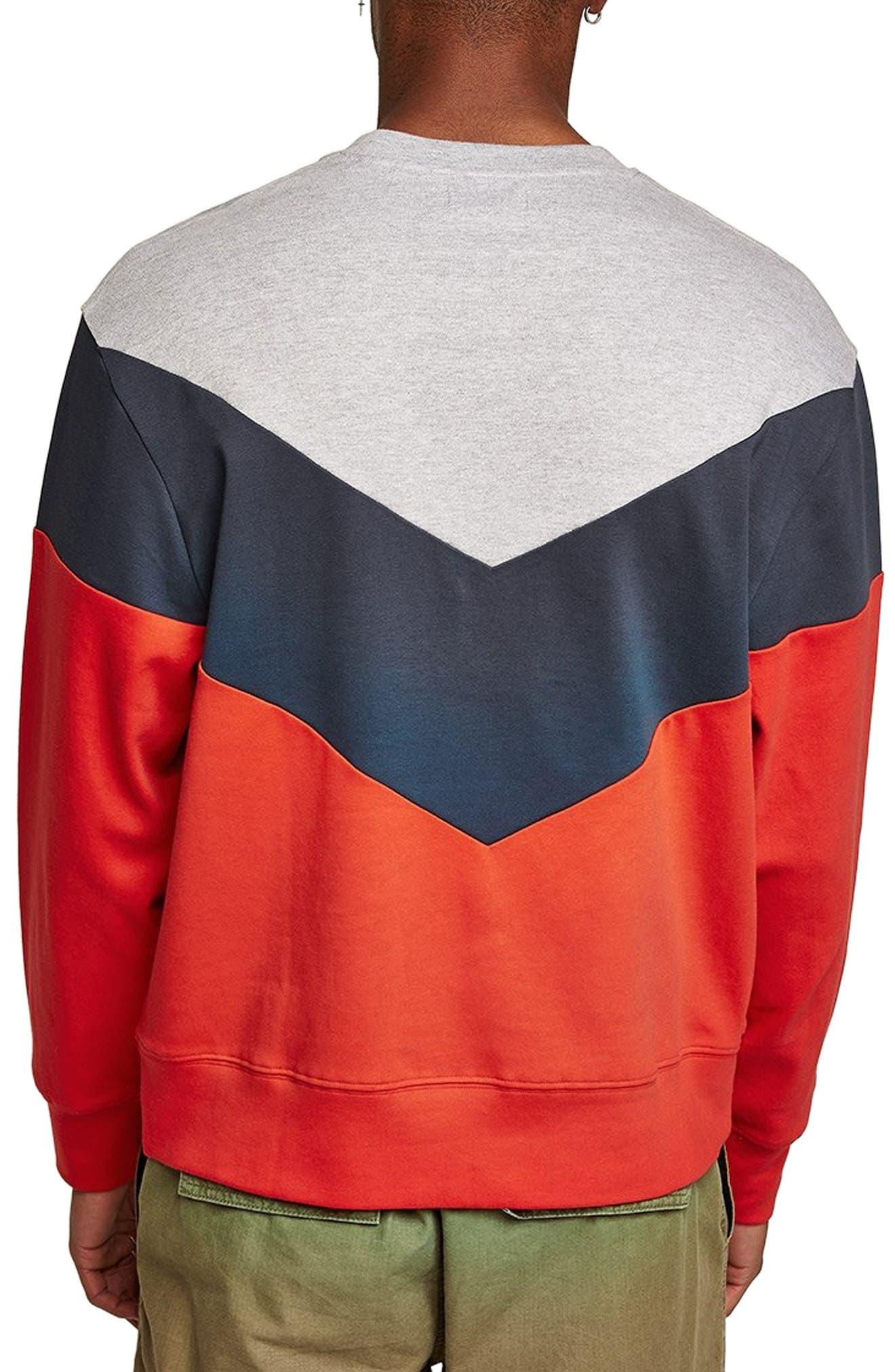 Chevron Colorblock Sweatshirt,                             Alternate thumbnail 2, color,                             RED MULTI