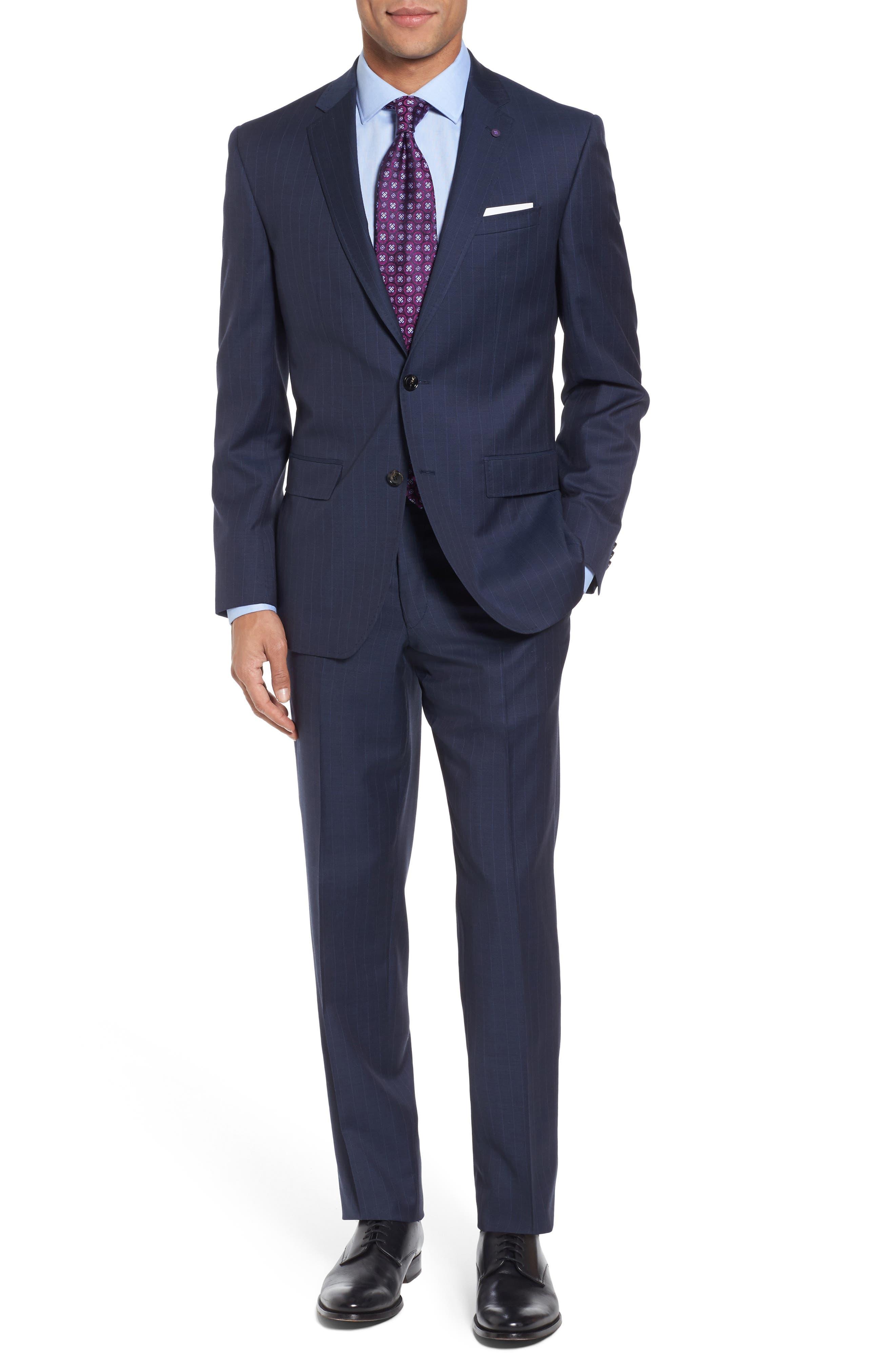 Jay Trim Fit Stripe Wool Suit,                         Main,                         color, 400