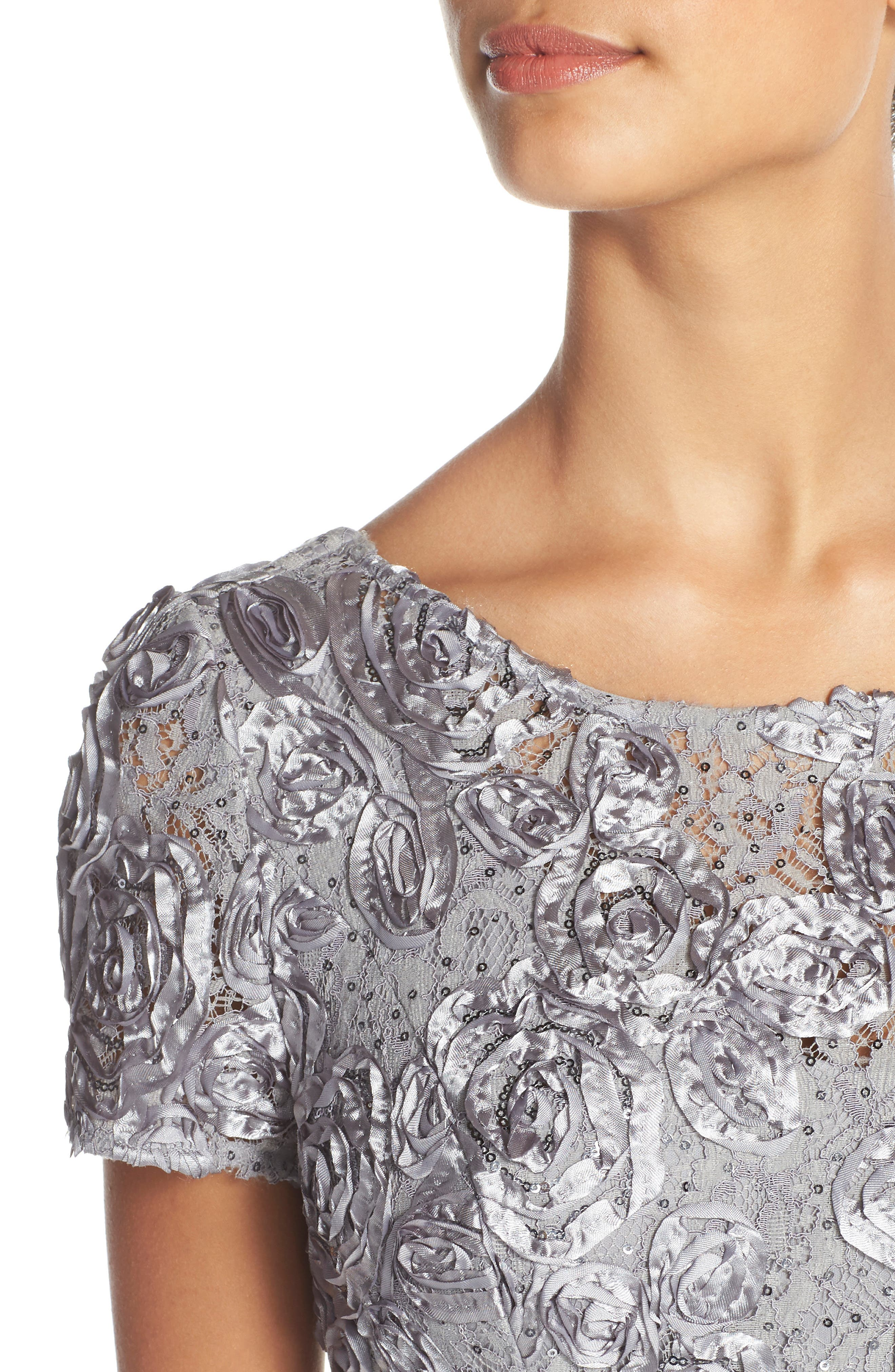 Embellished Lace Gown,                             Alternate thumbnail 4, color,                             DOVE