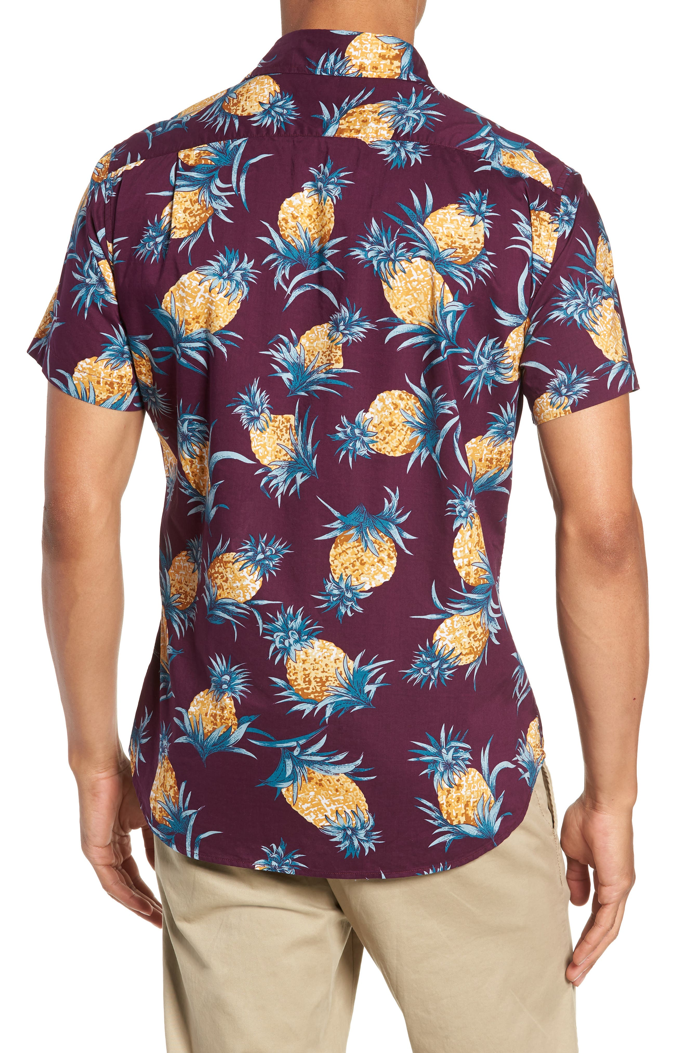 Riviera Slim Fit Pineapple Print Sport Shirt,                             Alternate thumbnail 3, color,                             500