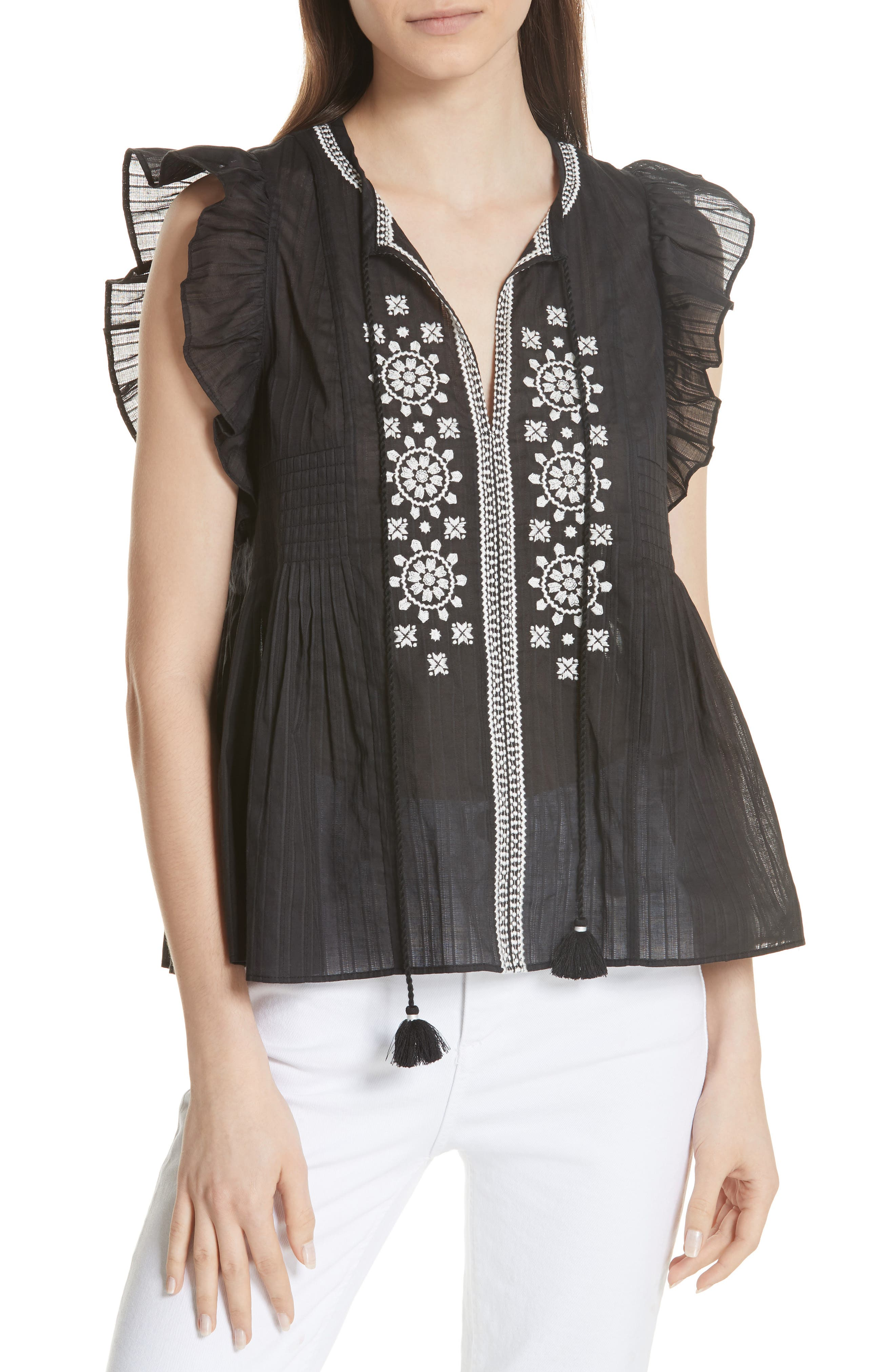 KATE SPADE NEW YORK mosaic embroidered tassel top, Main, color, 001