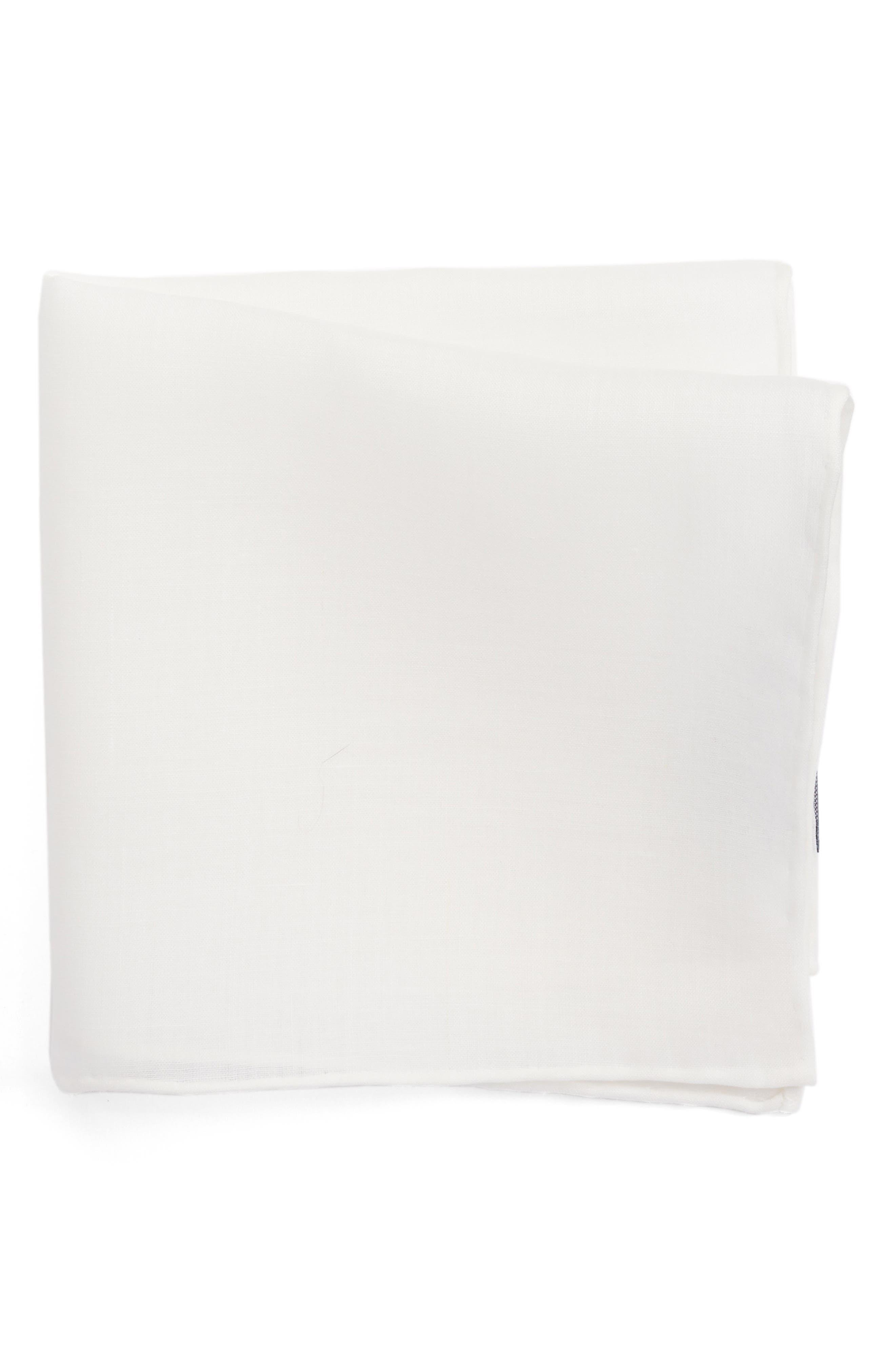 Solid Linen Pocket Square,                             Main thumbnail 1, color,                             100