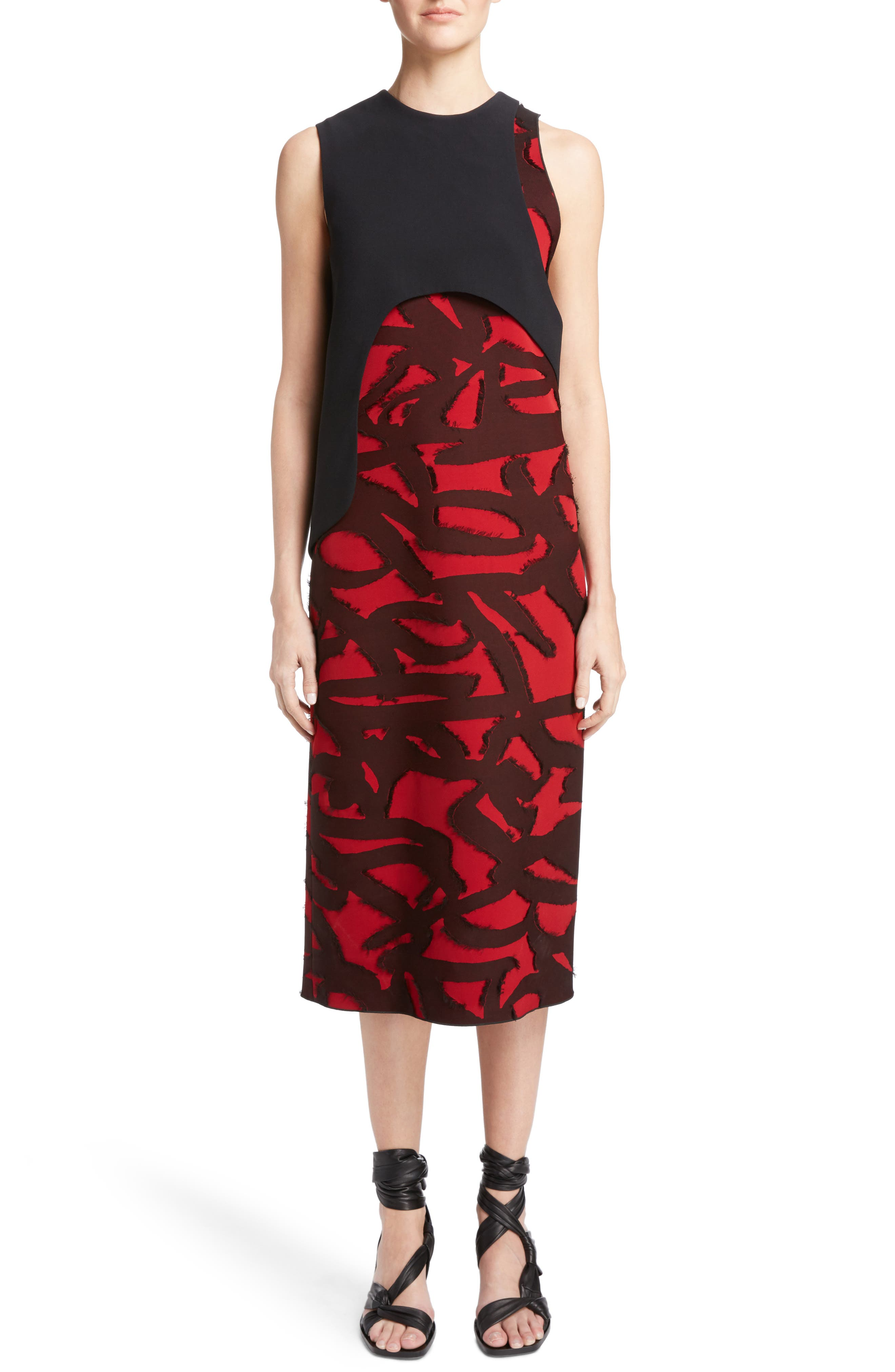 Fil Coupé Jacquard Layered Dress,                             Main thumbnail 1, color,                             001