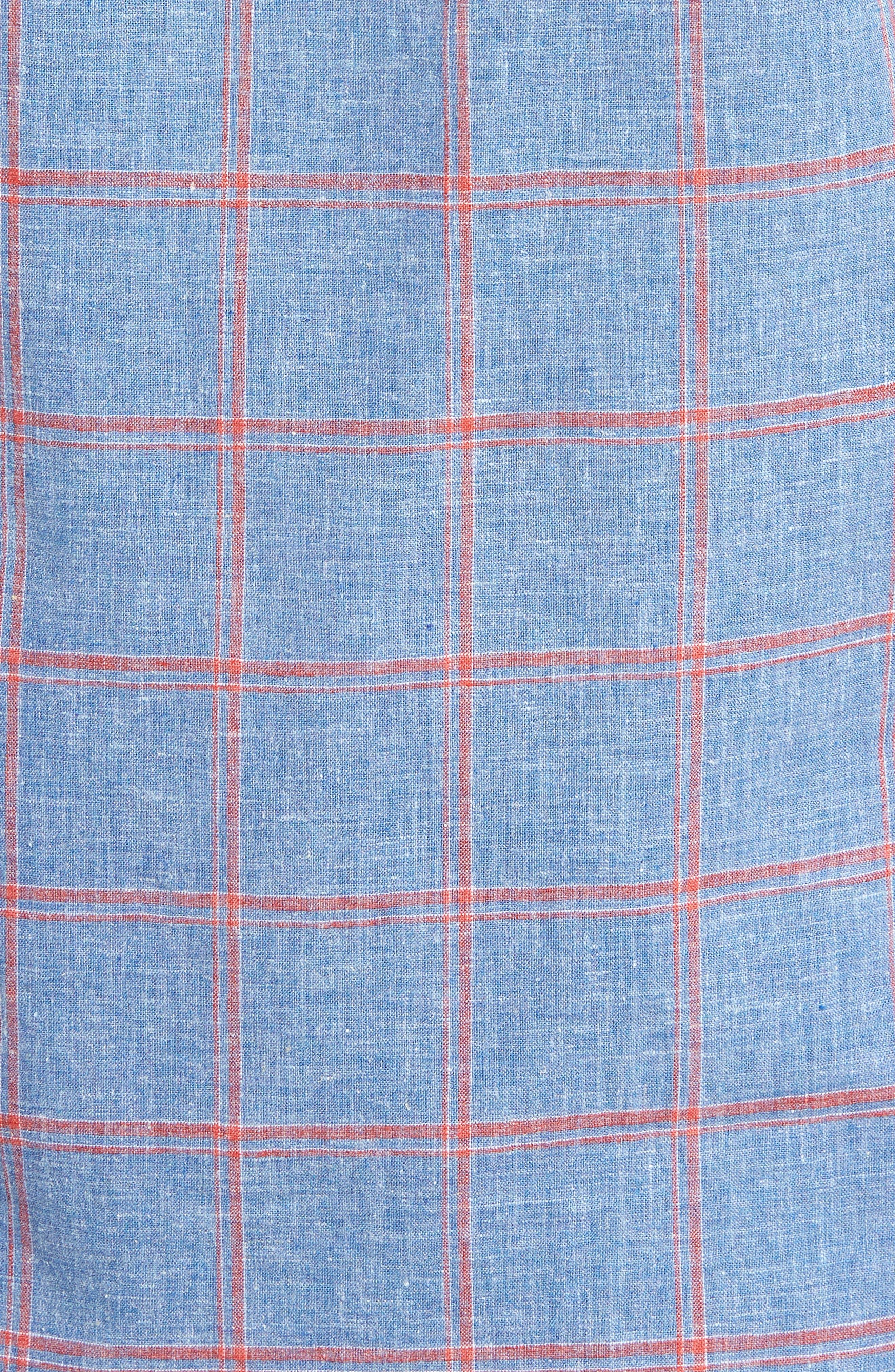 Trim Fit Windowpane Linen & Cotton Sport Shirt,                             Alternate thumbnail 5, color,                             420