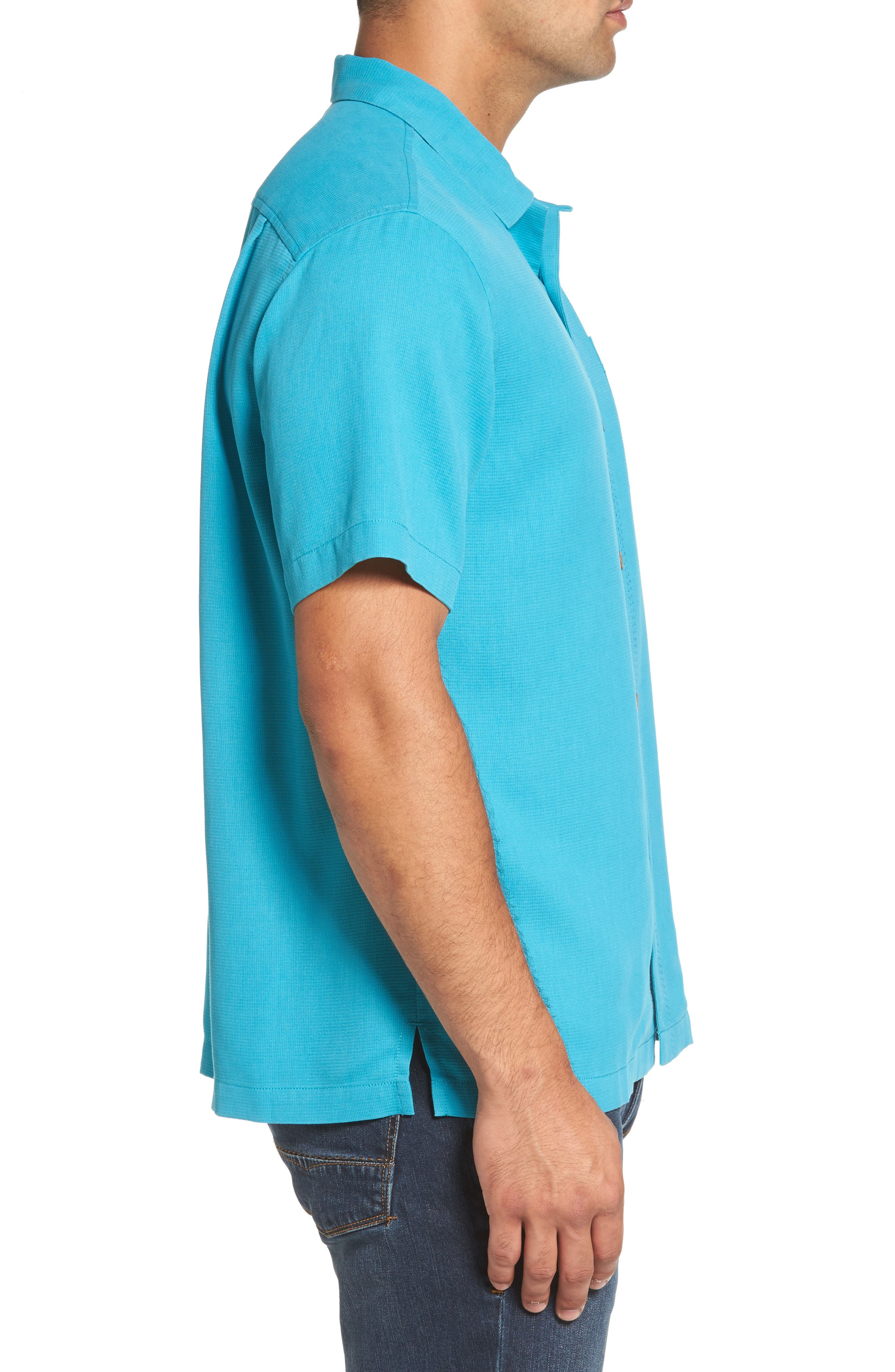 Royal Bermuda Silk Blend Camp Shirt,                             Alternate thumbnail 3, color,                             404