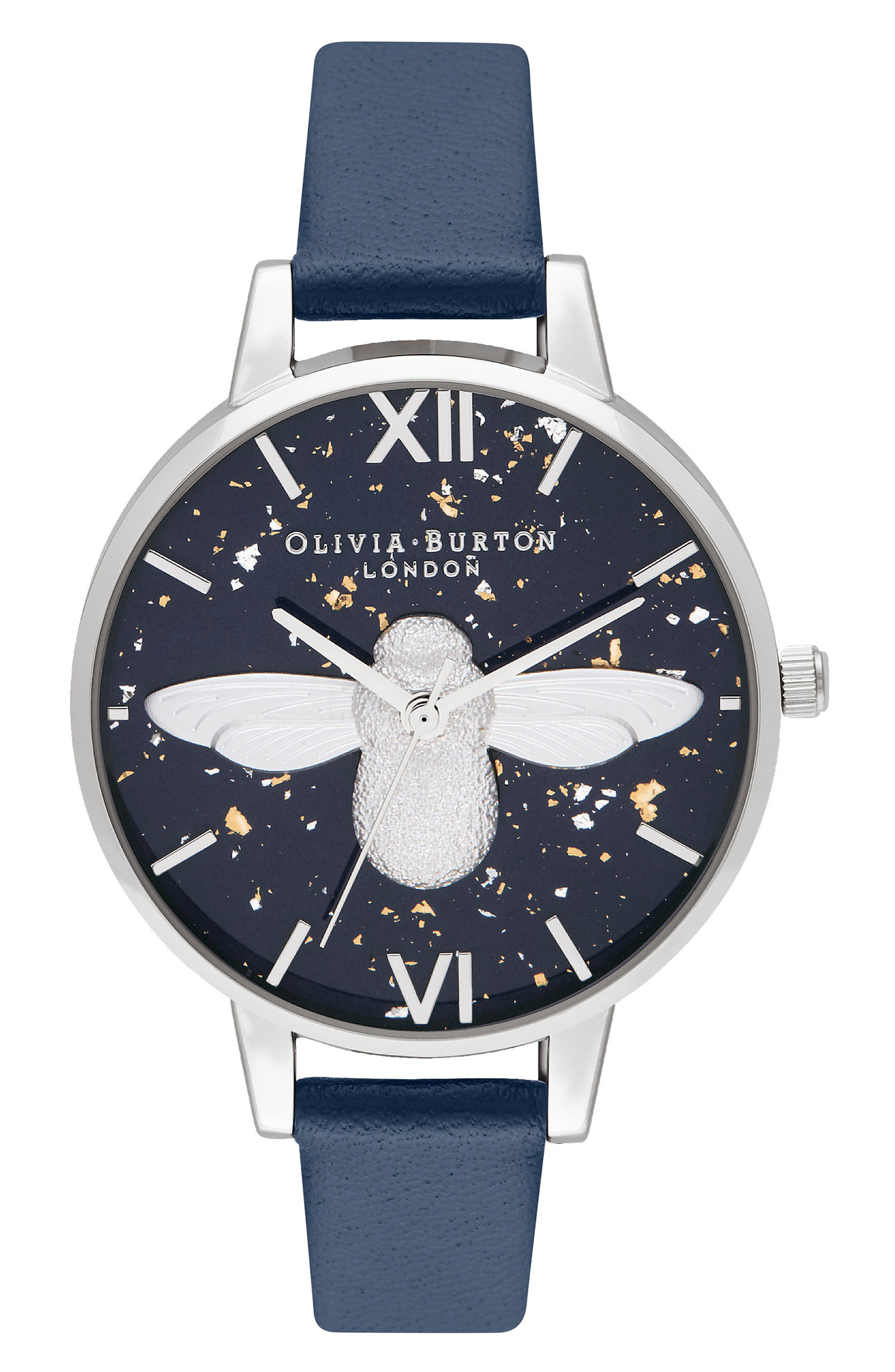 OLIVIA BURTON Celestial Bee Leather Strap Watch, 34Mm in Blue/ Silver
