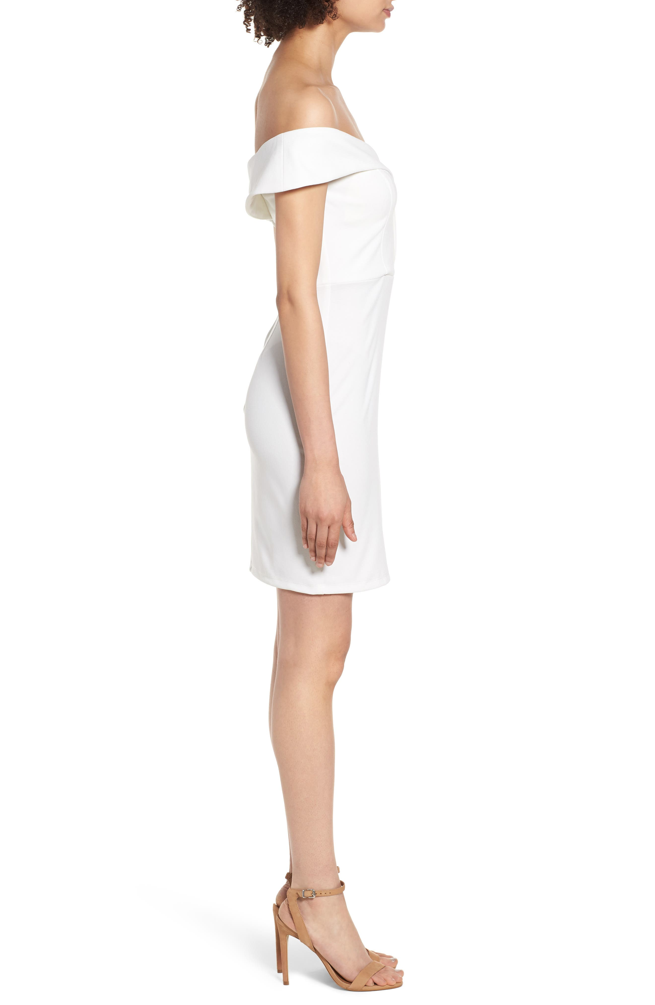 Off the Shoulder Body-Con Dress,                             Alternate thumbnail 3, color,                             IVORY