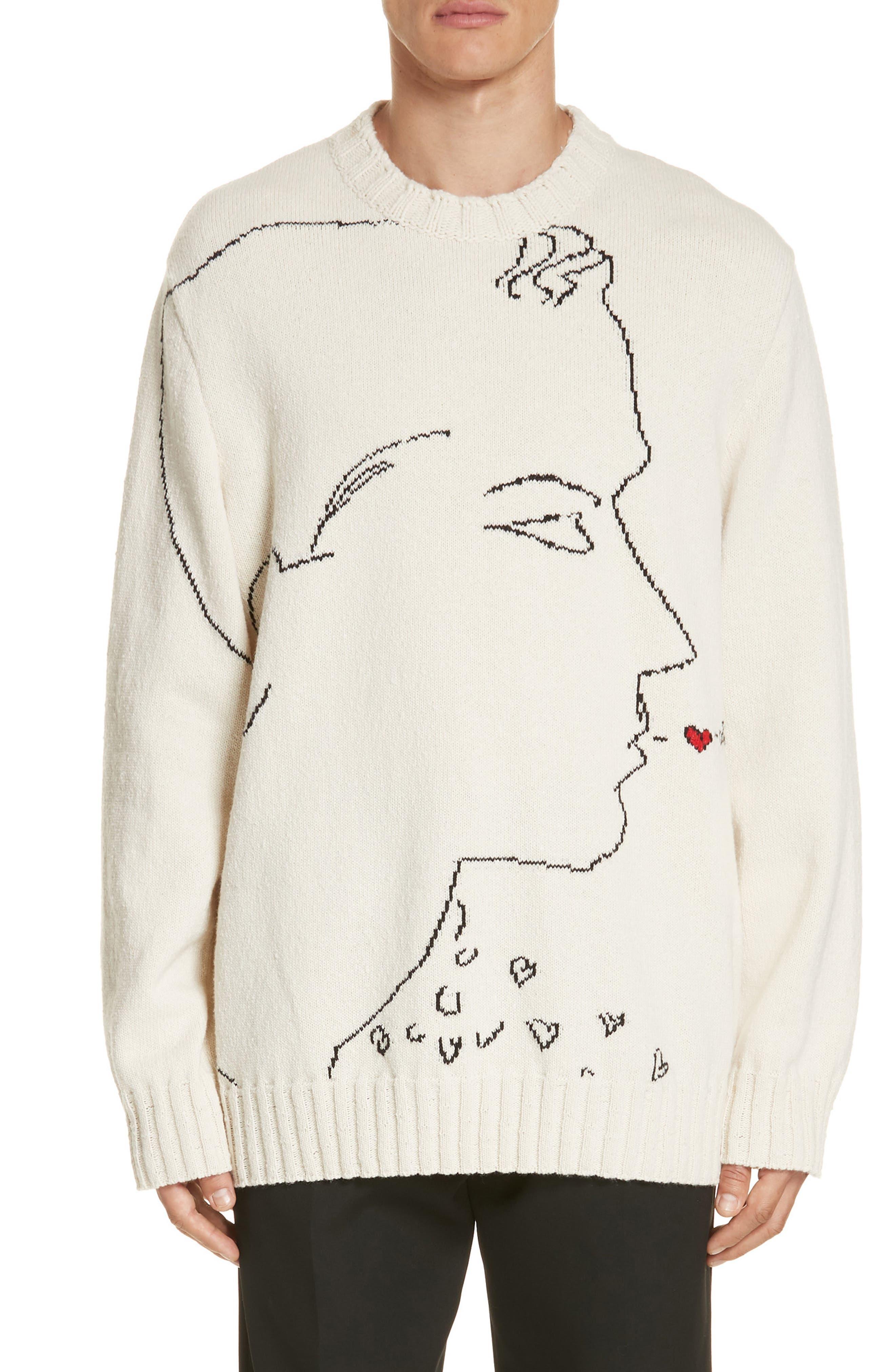 CALVIN KLEIN 205W39NYC,                             Print Wool Sweater,                             Main thumbnail 1, color,                             ECRU BLACK RED