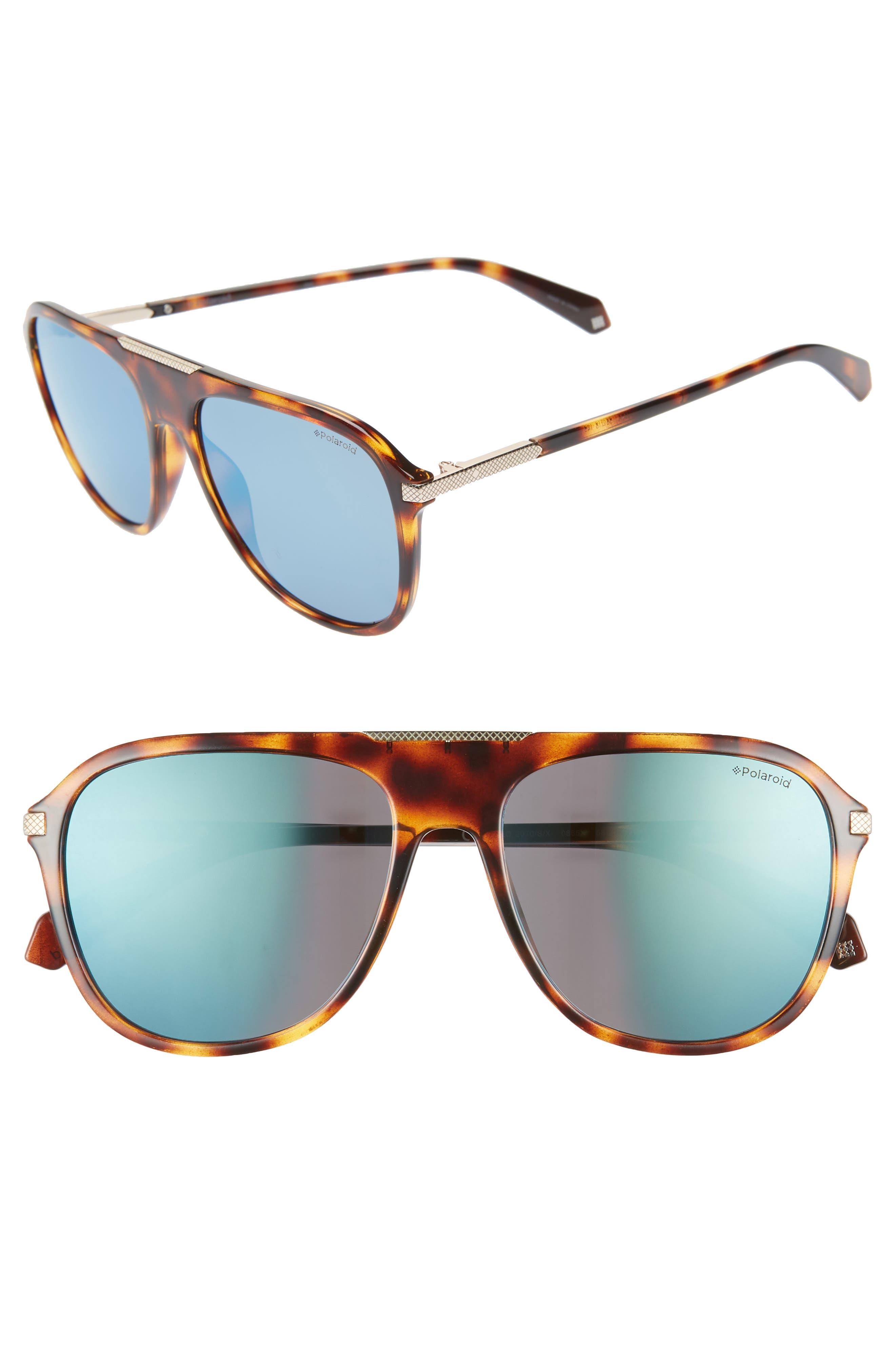 POLAROID 58Mm Polarized Aviator Sunglasses - Havana