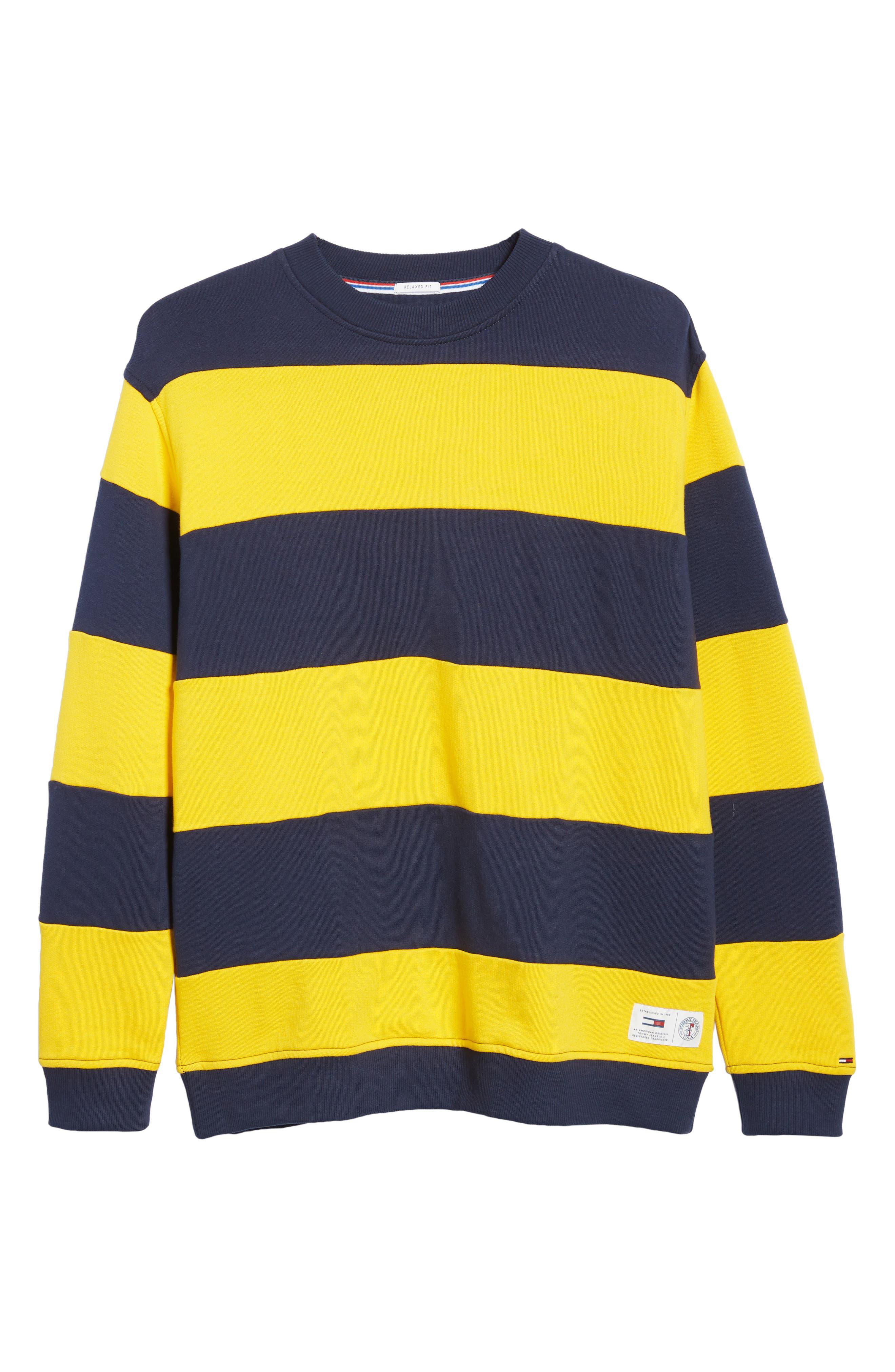 TJM Big Stripe Crew Shirt,                             Alternate thumbnail 6, color,                             BLACK IRIS / SPECTRA YELLOW