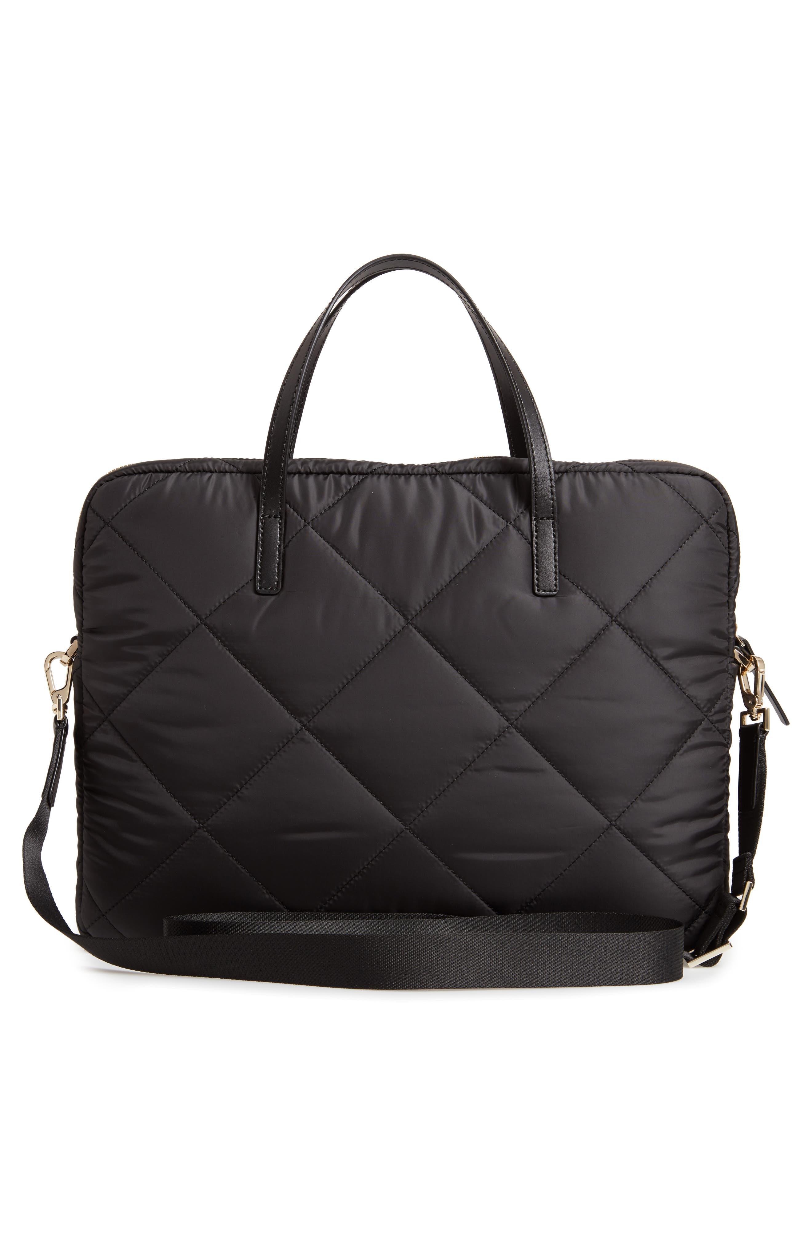 quilted nylon universal laptop commuter bag,                             Alternate thumbnail 3, color,                             BLACK