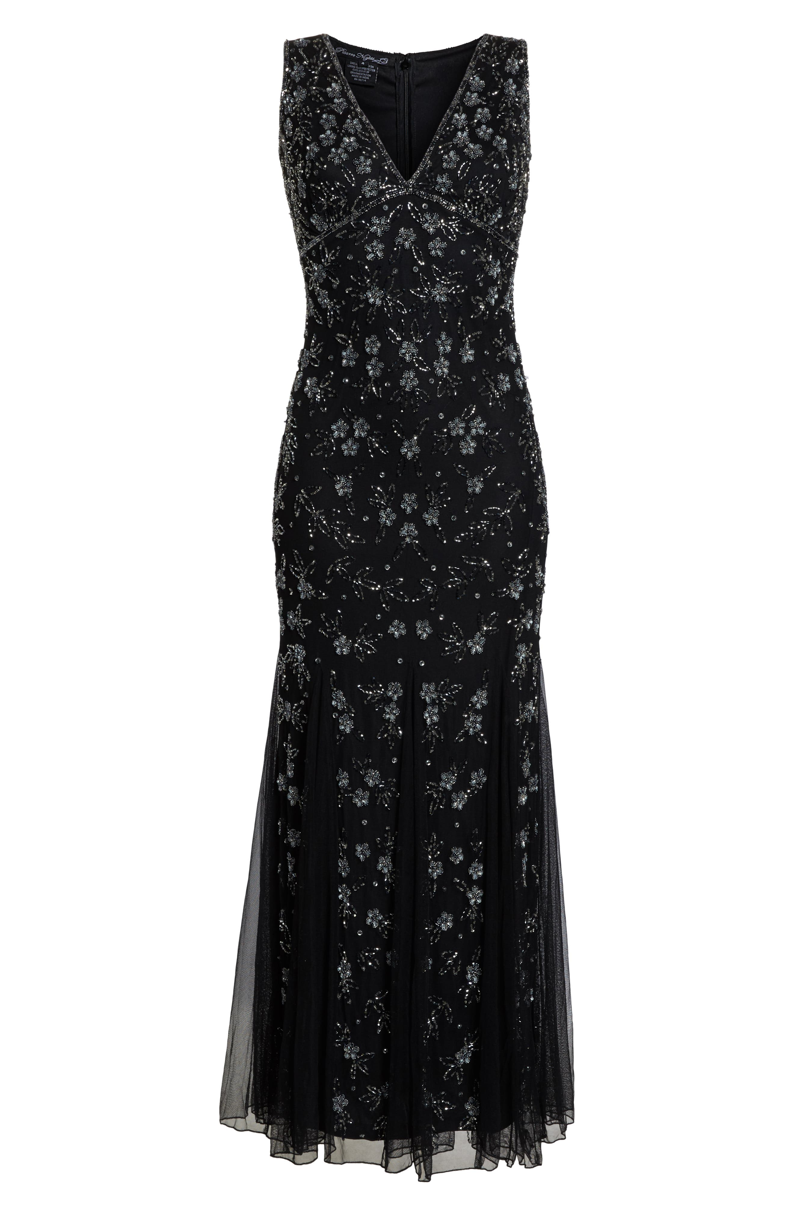 Beaded Godet Gown,                             Alternate thumbnail 7, color,                             BLACK