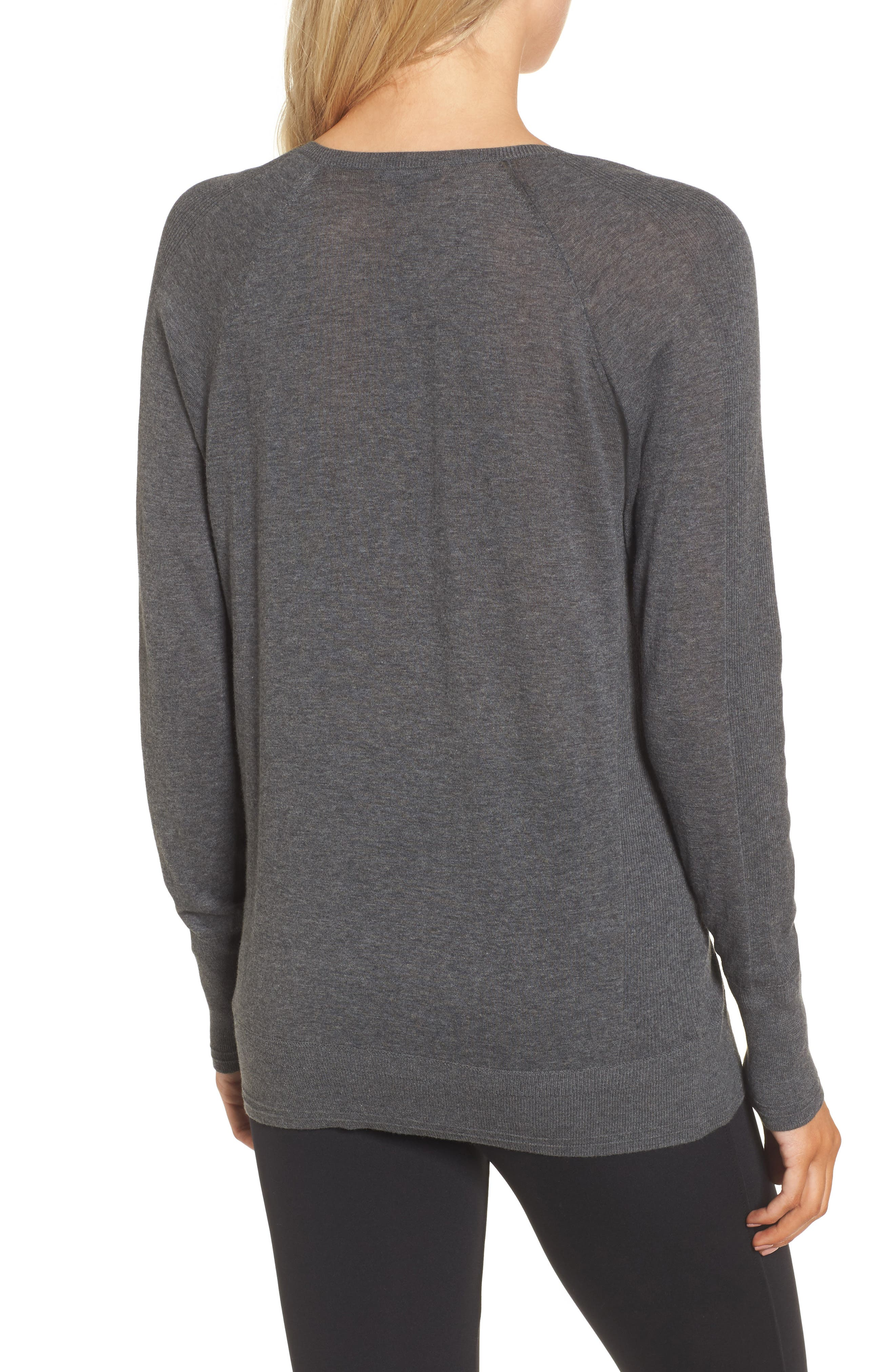 Deep V-Neck Sweater,                             Alternate thumbnail 2, color,                             DARK HEATHER GREY