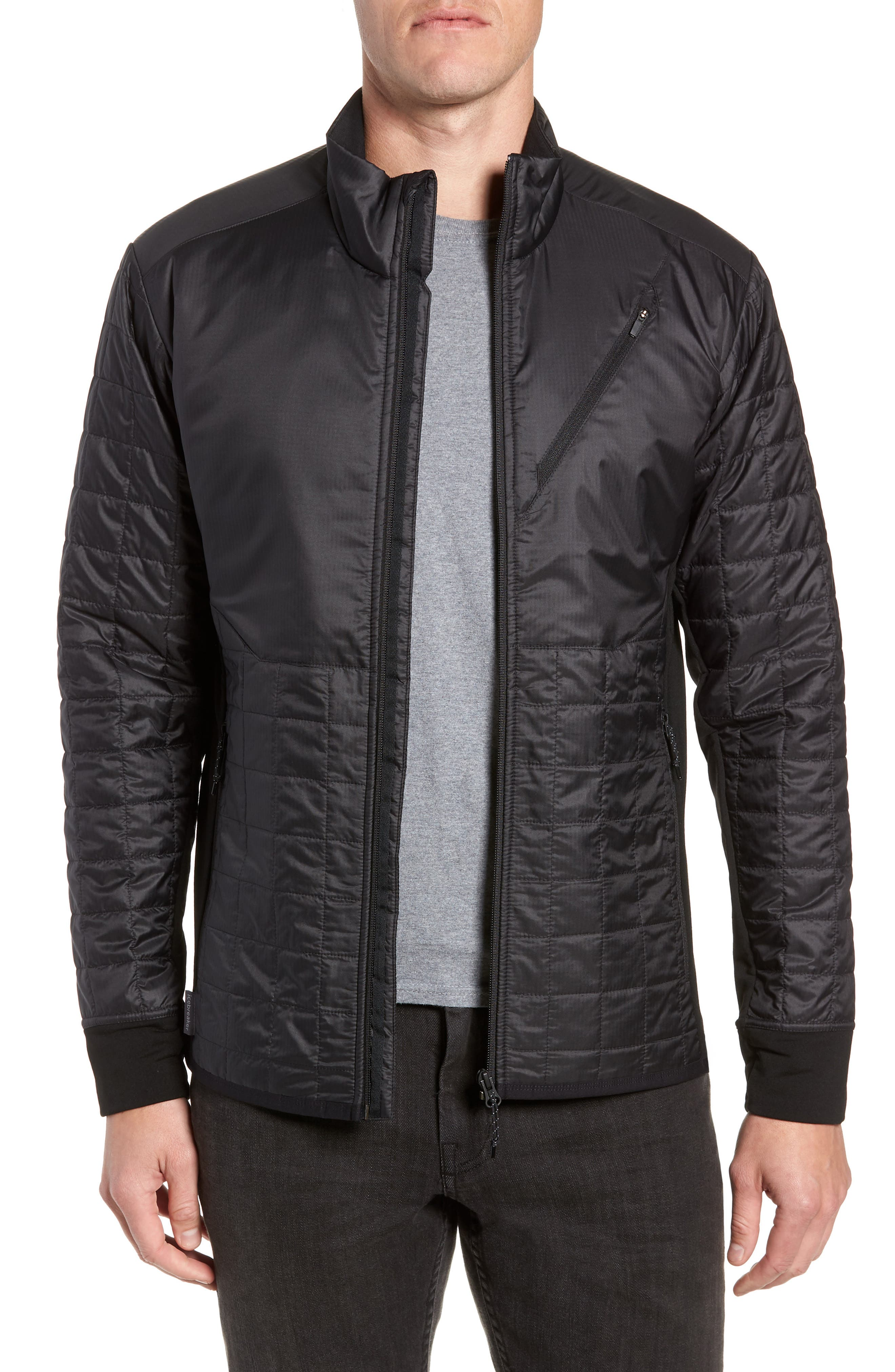MerinoLOFT<sup>™</sup> Helix Midlayer Zip Jacket,                             Main thumbnail 1, color,                             BLACK/ JET HEATHER