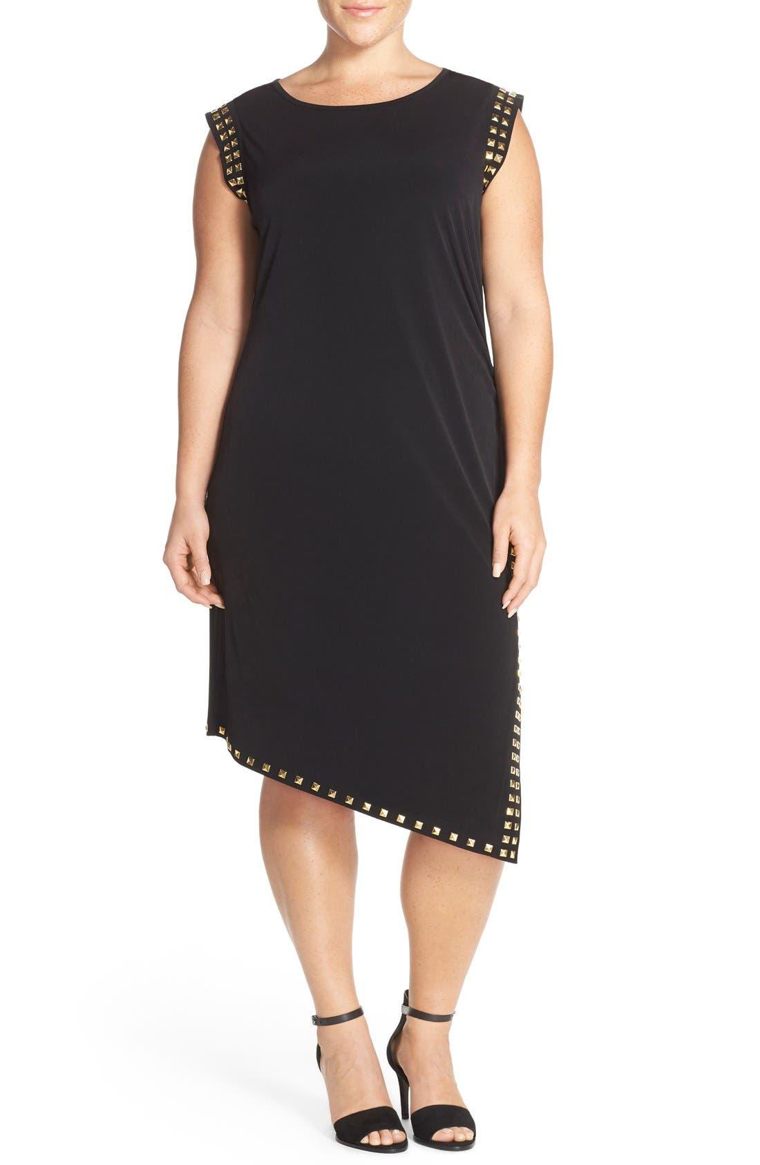 Studded Asymmetrical Shift Dress,                             Alternate thumbnail 4, color,                             008