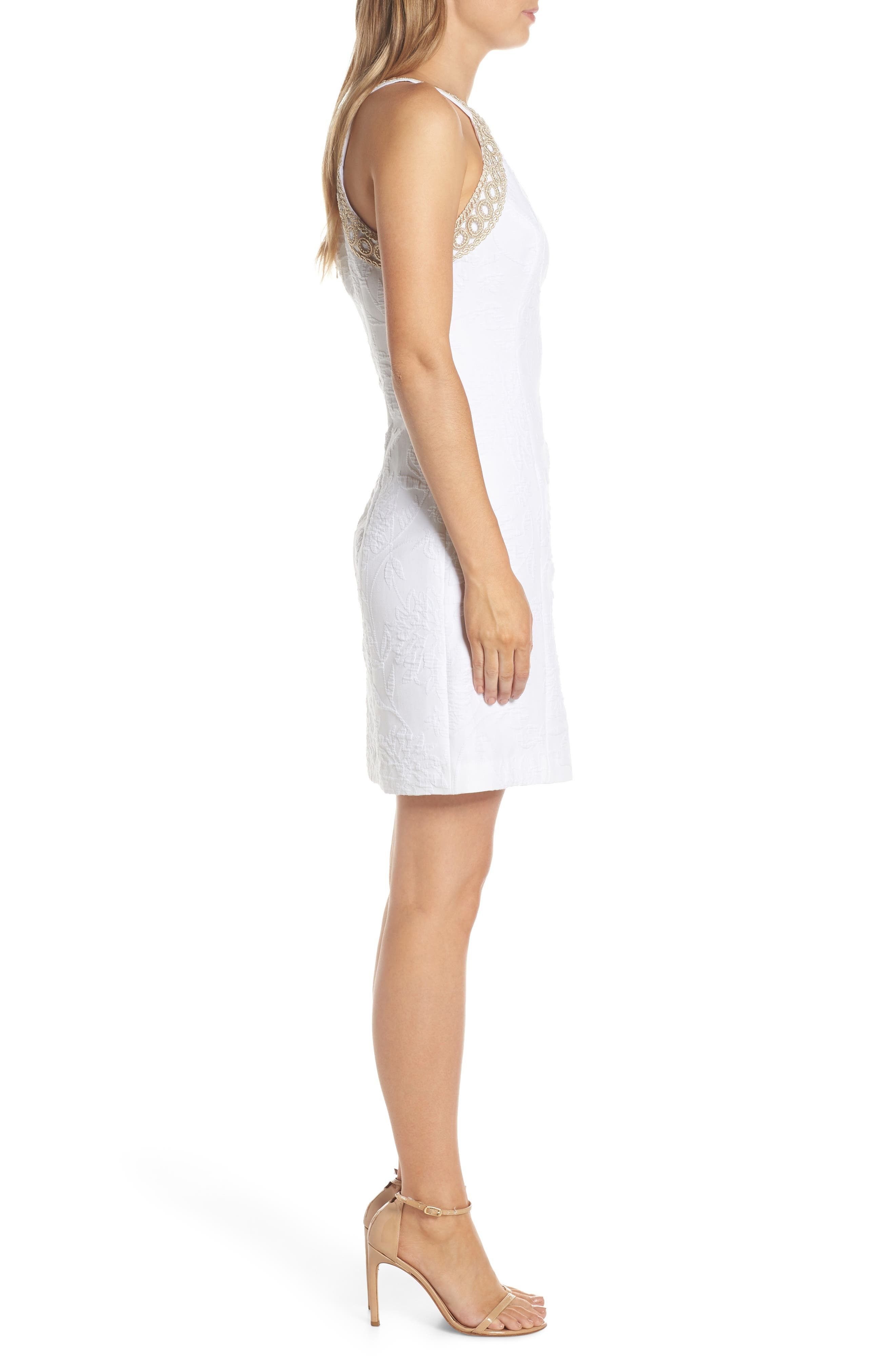 Pearl Stretch Shift Dress,                             Alternate thumbnail 3, color,                             RESORT WHITE CALIENTE PU