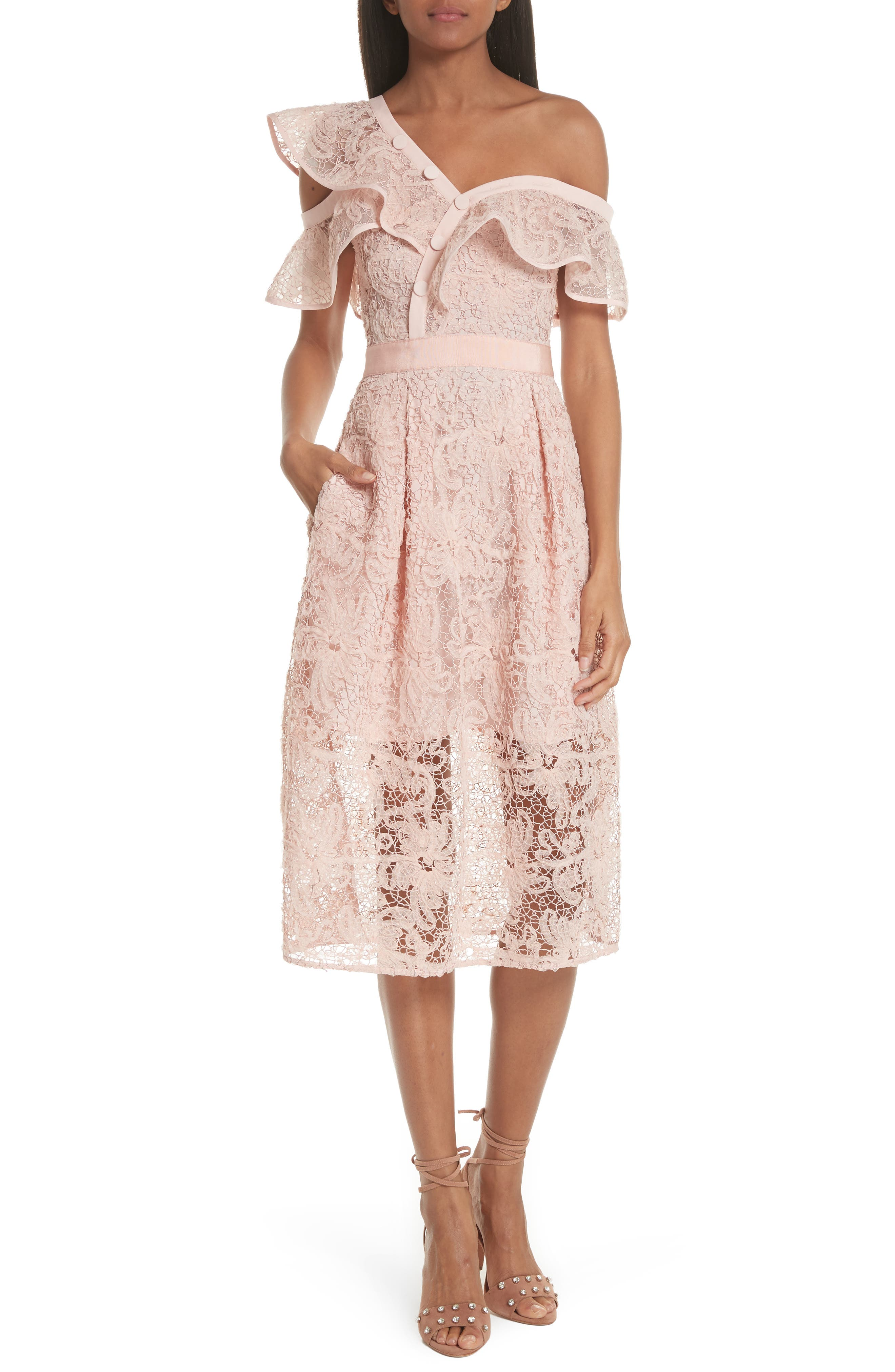 Lace Shoulder Cutout Midi Dress,                             Main thumbnail 1, color,                             650