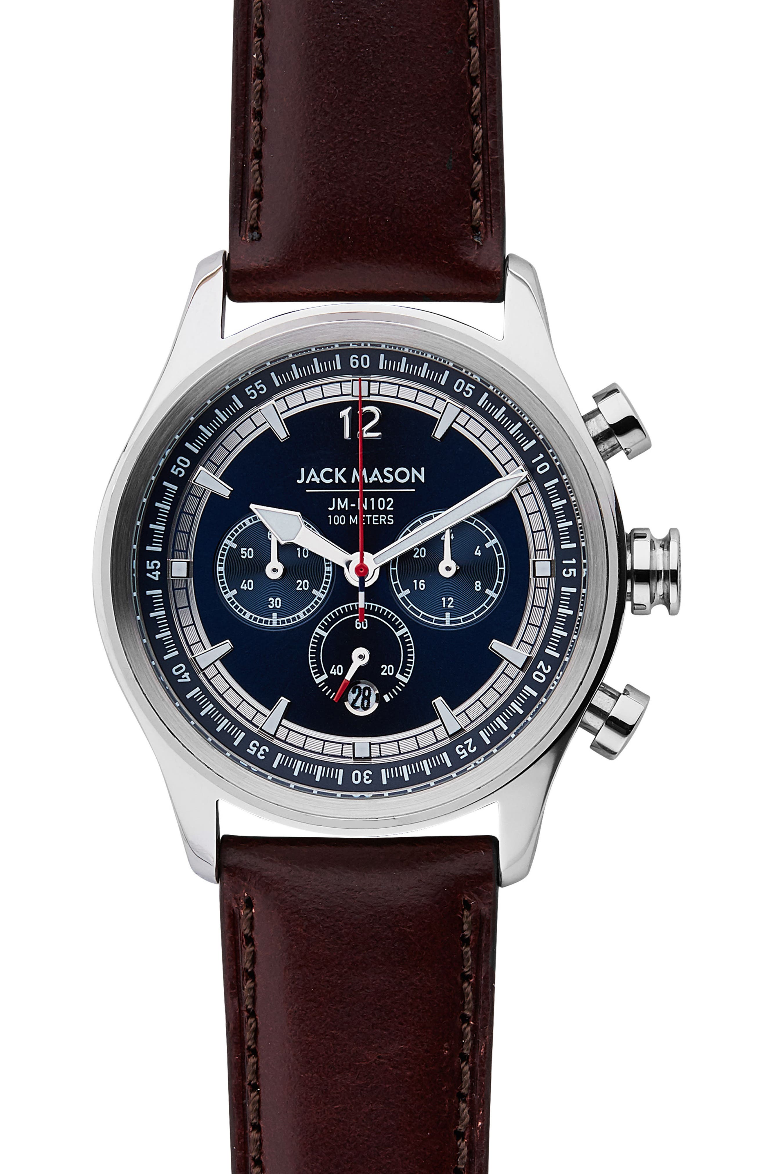 Nautical Chronograph Leather Watch, 42mm,                         Main,                         color, NAVY/ BROWN