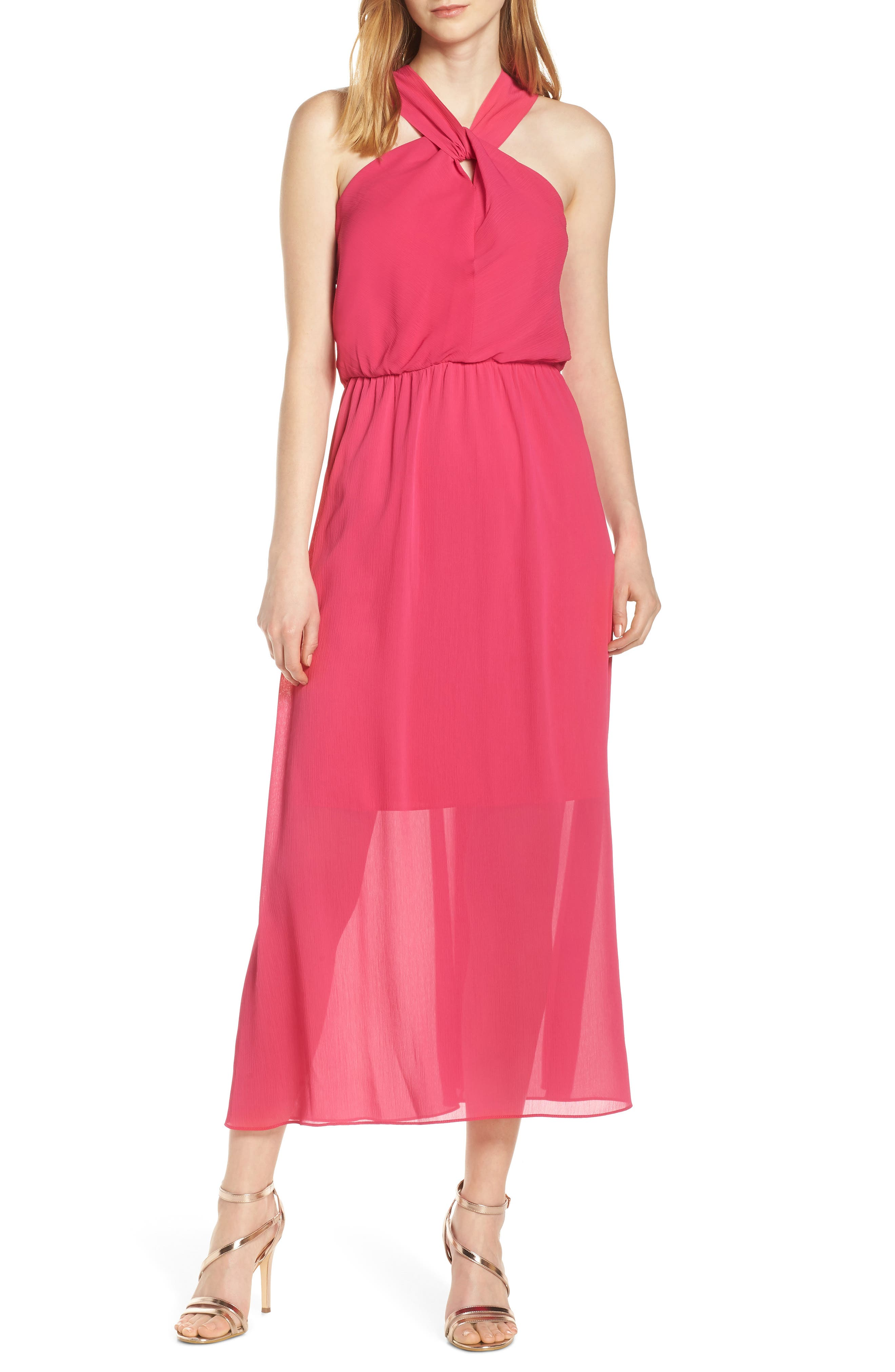Sam Edelman Crisscross Neck Maxi Dress, Pink