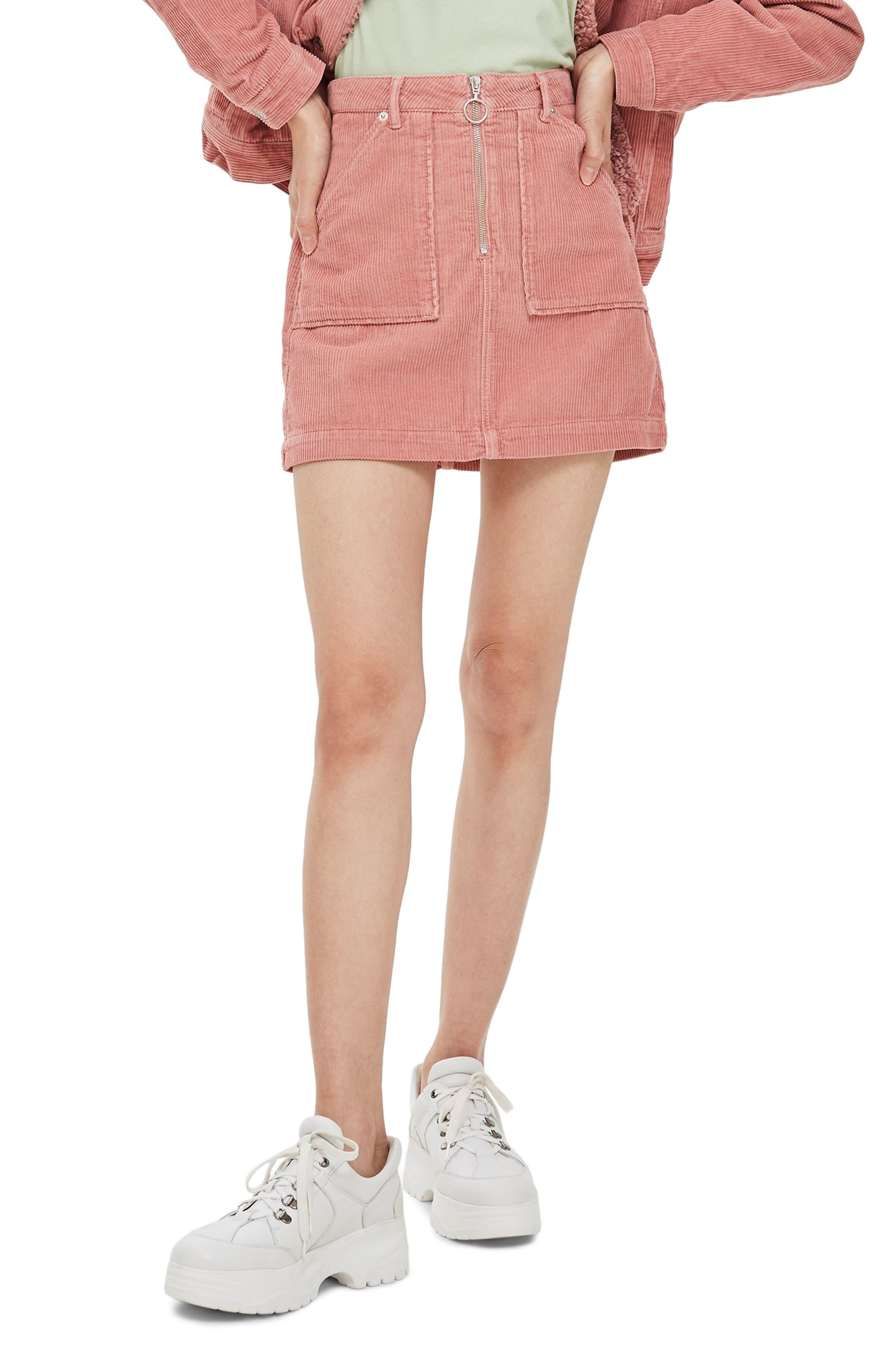 Topshop Front Zip Corduroy Miniskirt, US (fits like 16-18) - Pink