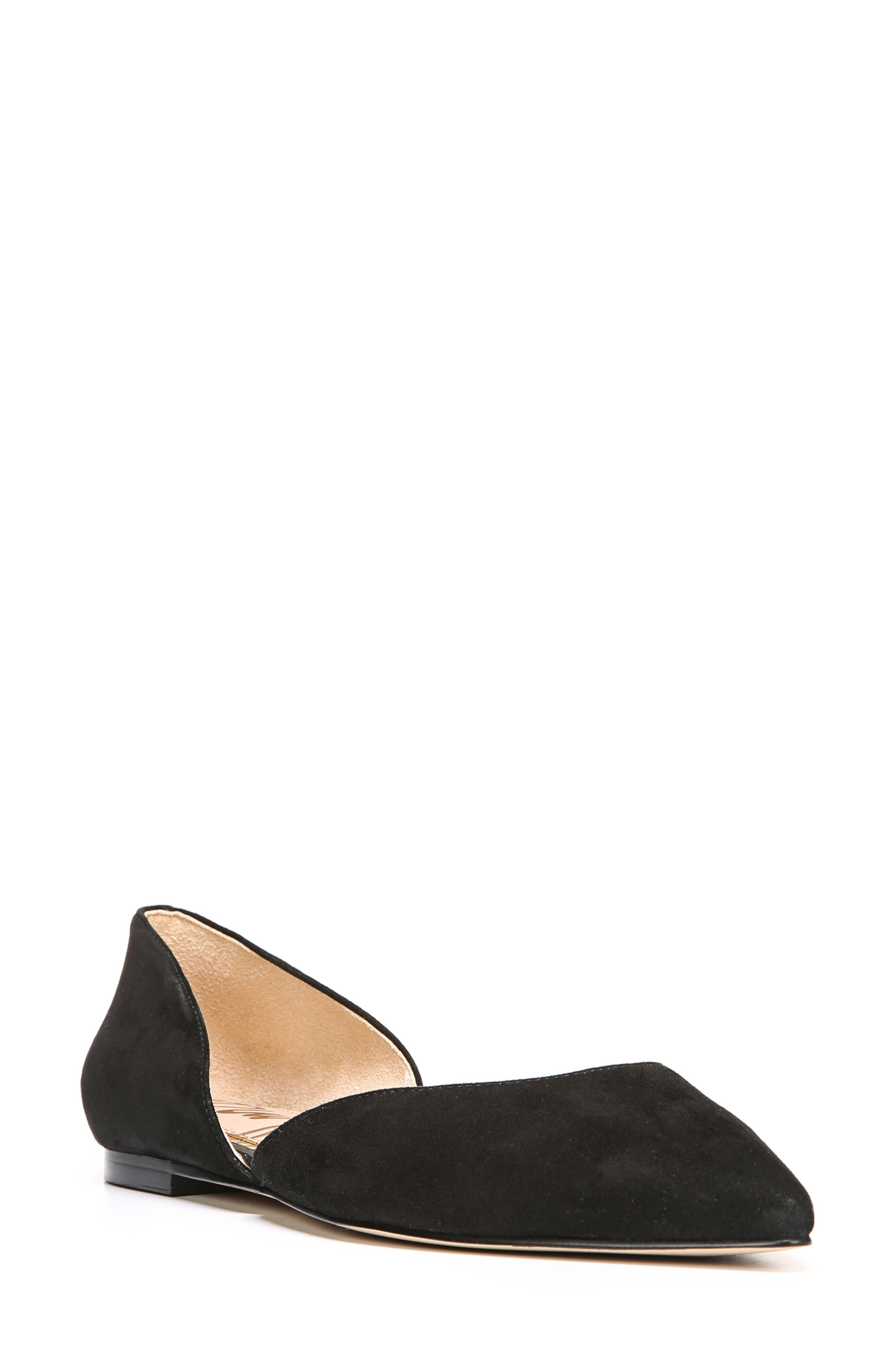 SAM EDELMAN Women'S Rodney Floral-Embroidered D'Orsay Flats in Black Suede
