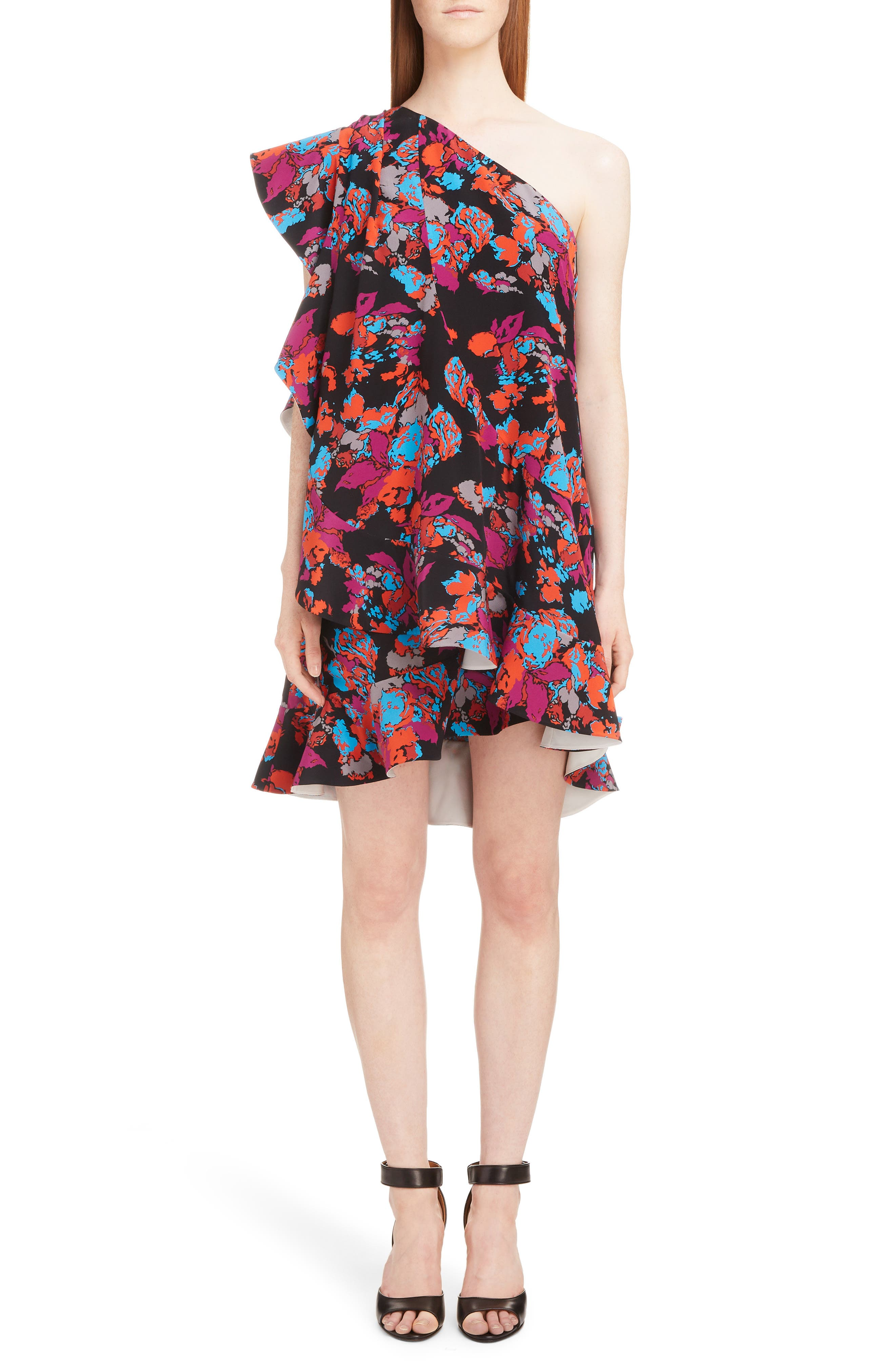 Givenchy Floral Print One-Shoulder Dress, 6 FR - Black
