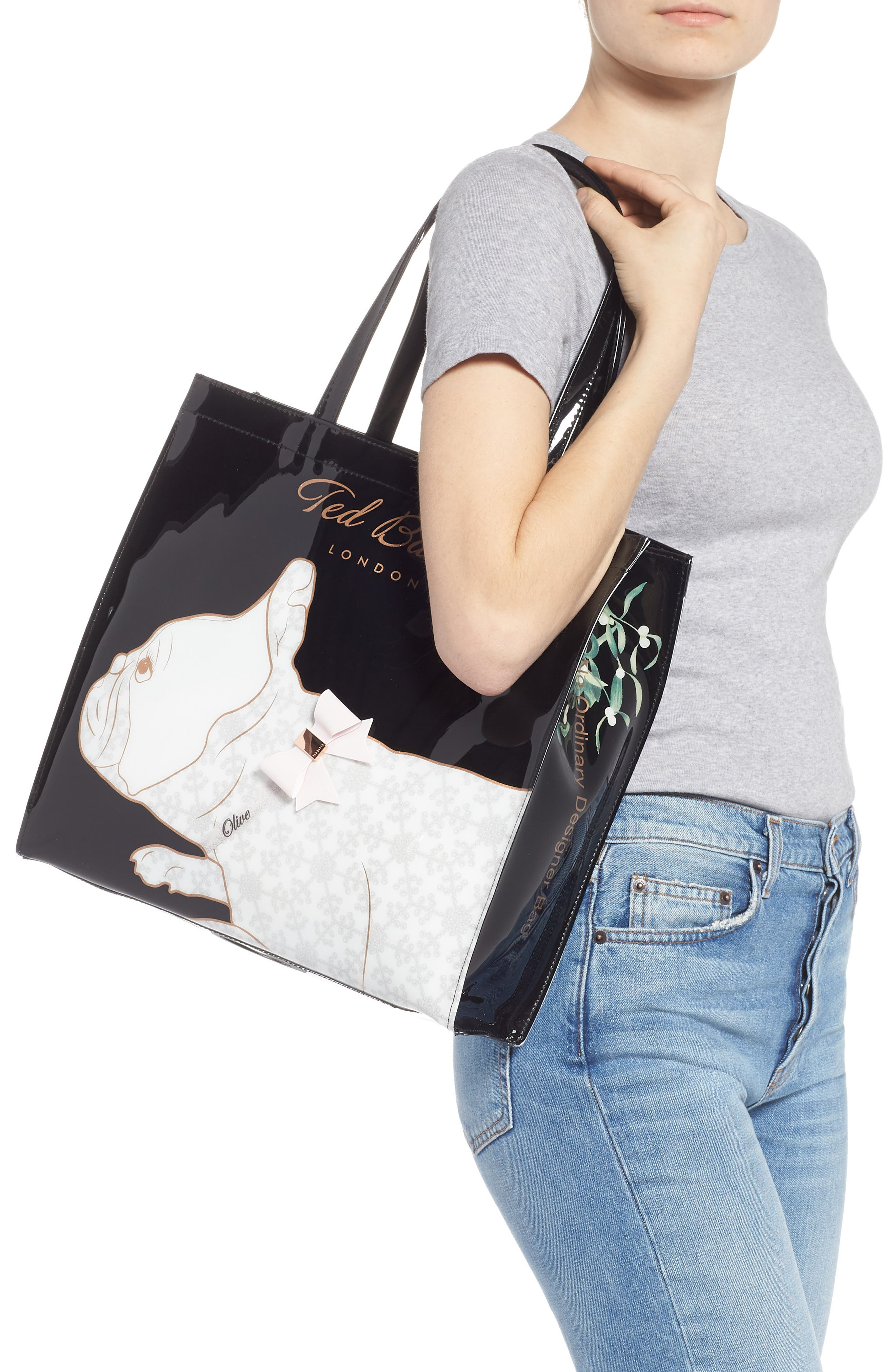 TED BAKER LONDON,                             Large Alyacon French Bulldog Icon Tote,                             Alternate thumbnail 2, color,                             001