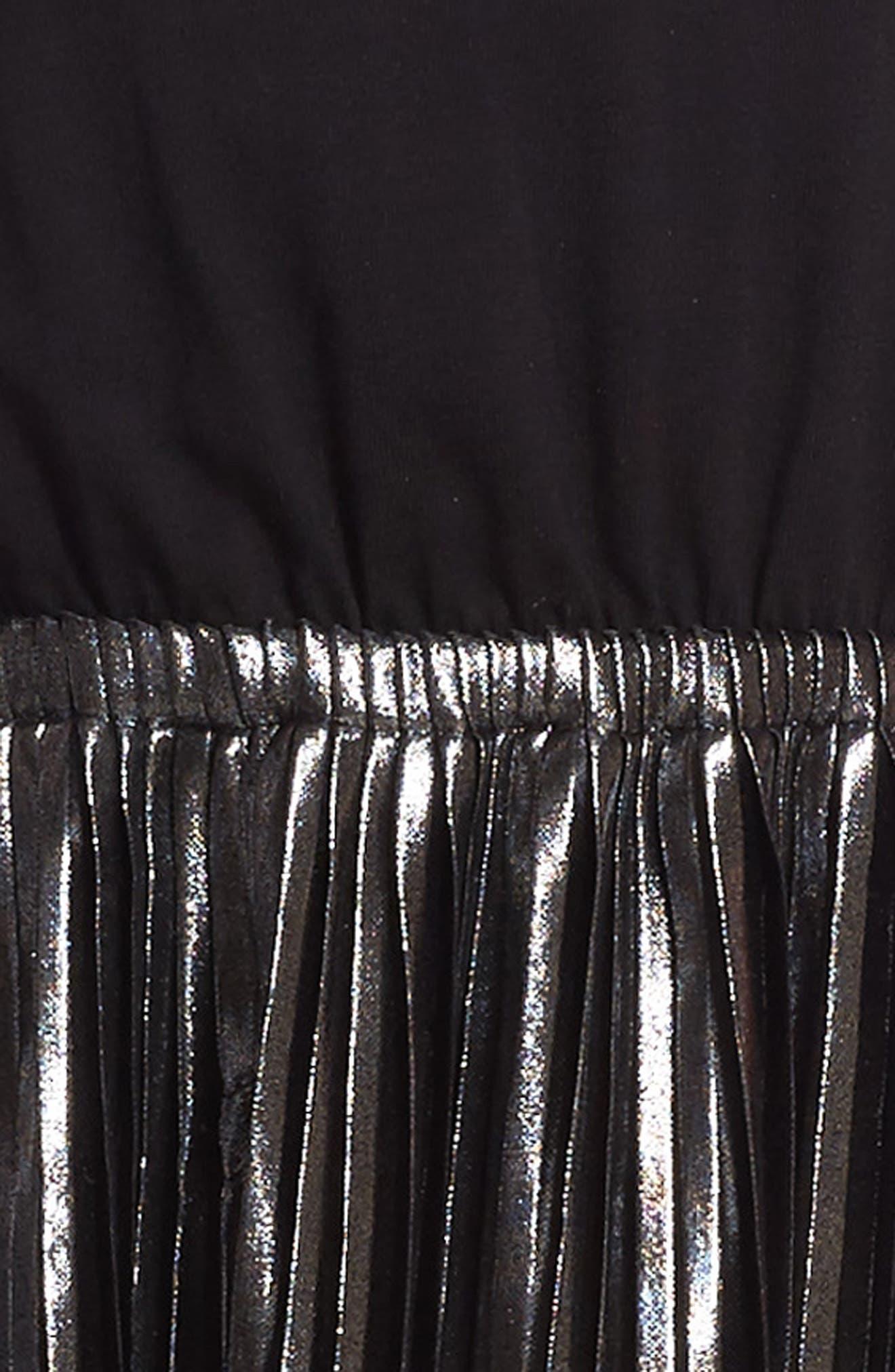 Metallic Sleeveless Dress,                             Alternate thumbnail 3, color,                             024