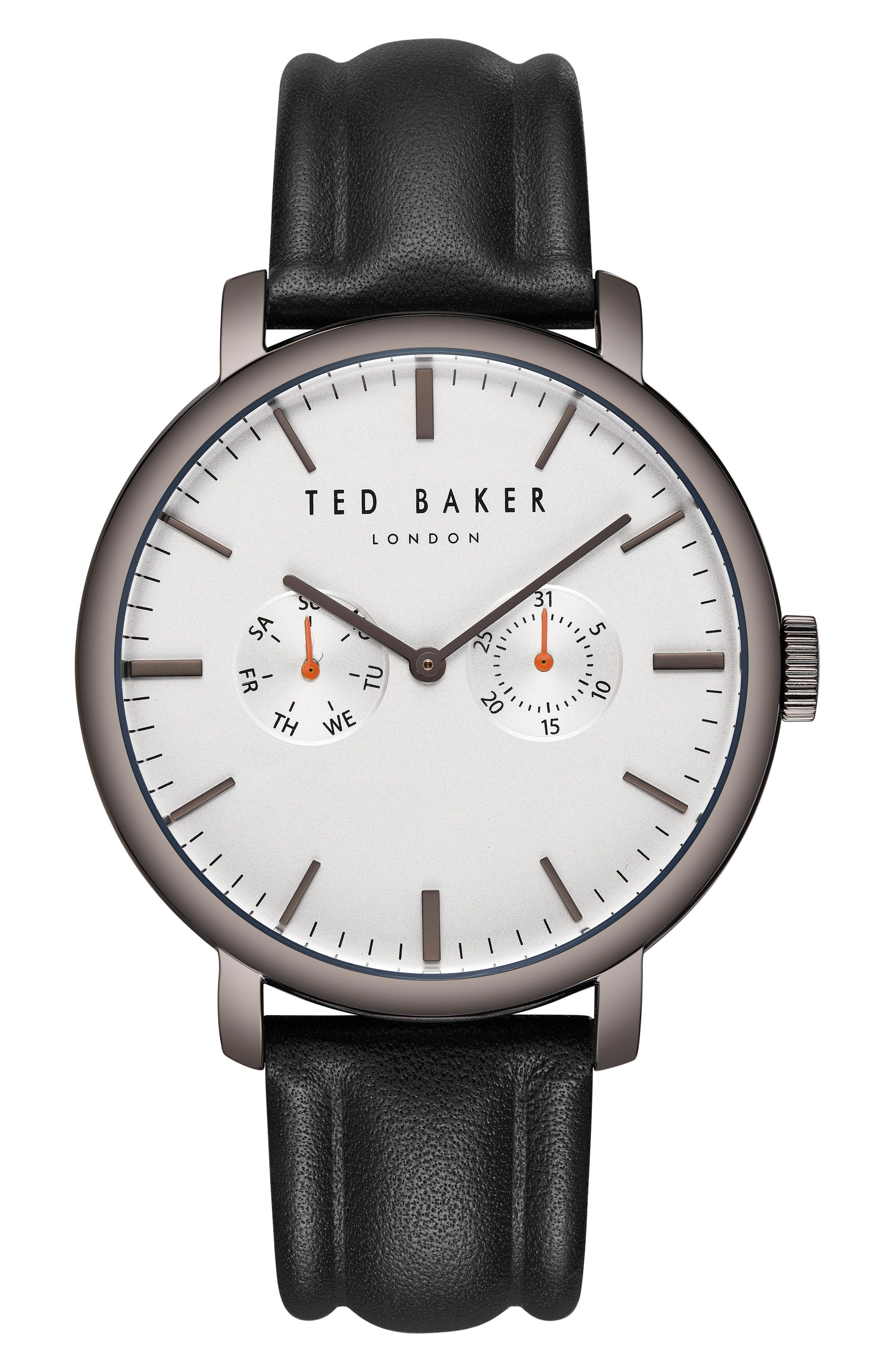 Trent Leather Strap Watch, 43mm,                             Main thumbnail 1, color,                             021