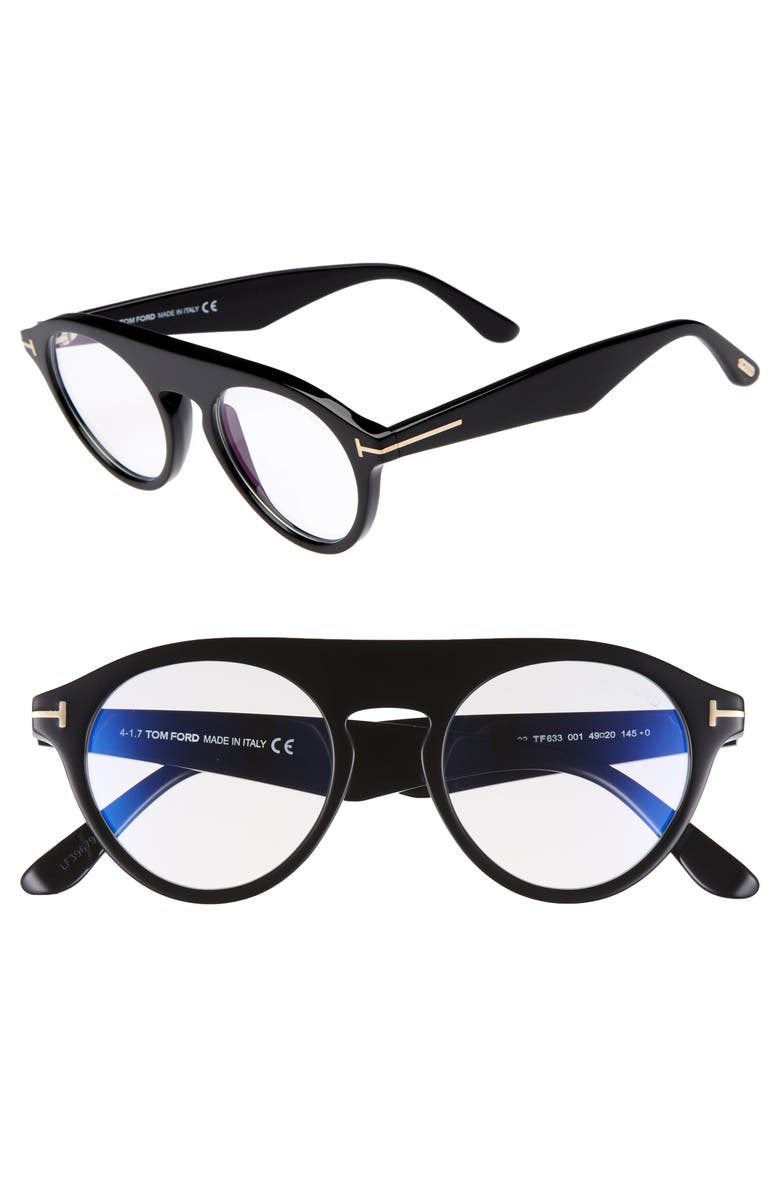 12908fd905 Tom Ford Christopher 49mm Round Blue Block Optical Glasses