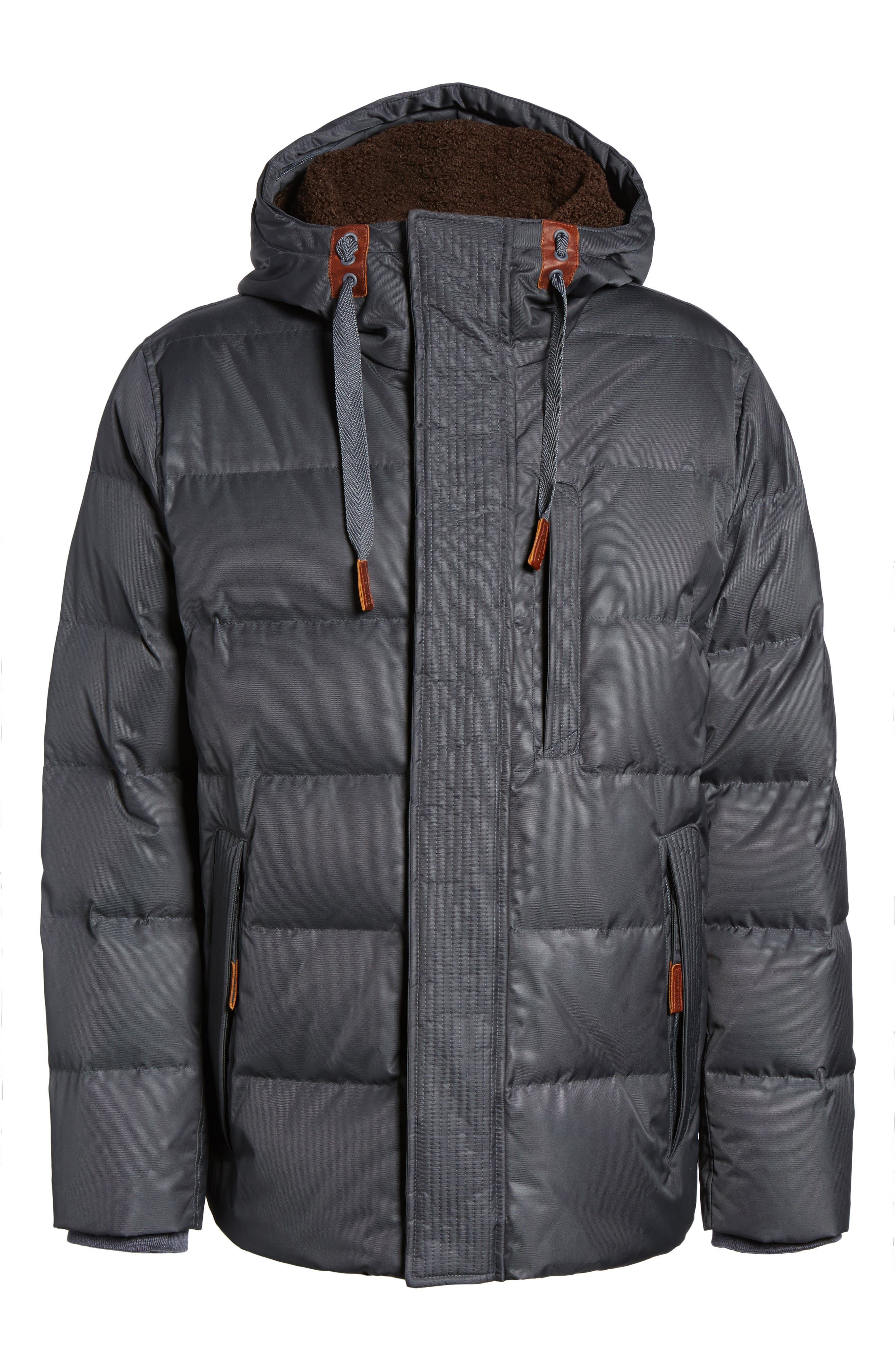 Groton Slim Down Jacket with Faux Shearling Lining,                             Alternate thumbnail 10, color,